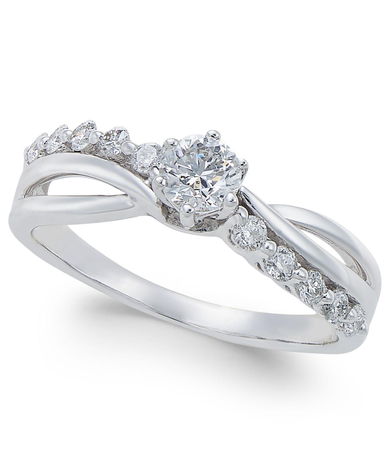 Macy s Diamond Swirl Engagement Ring 1 2 Ct T w In 14k White