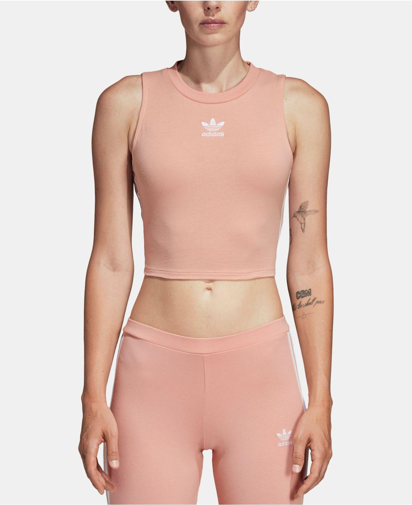 adidas Originals adidas Originals adicolor three stripe cropped tank in pink Pink from ASOS (USA) | People