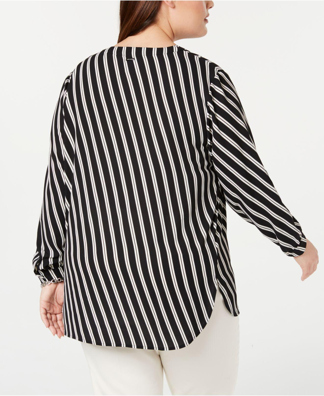 59b1d3d3b36 Lyst - Anne Klein Plus Size Striped Top in Black