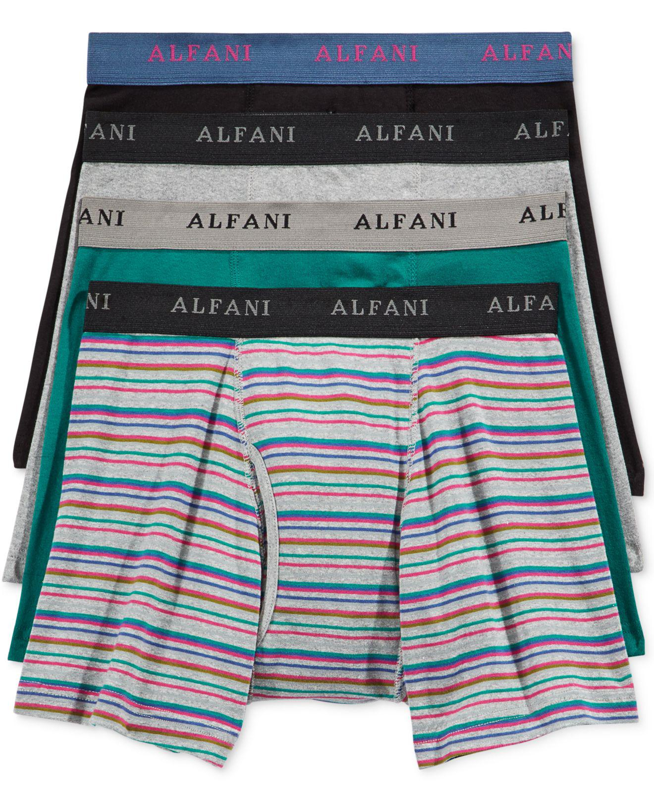 d5a52365fa84 Alfani - Blue Men's 4-pk. Striped Boxer Briefs for Men - Lyst. View  fullscreen