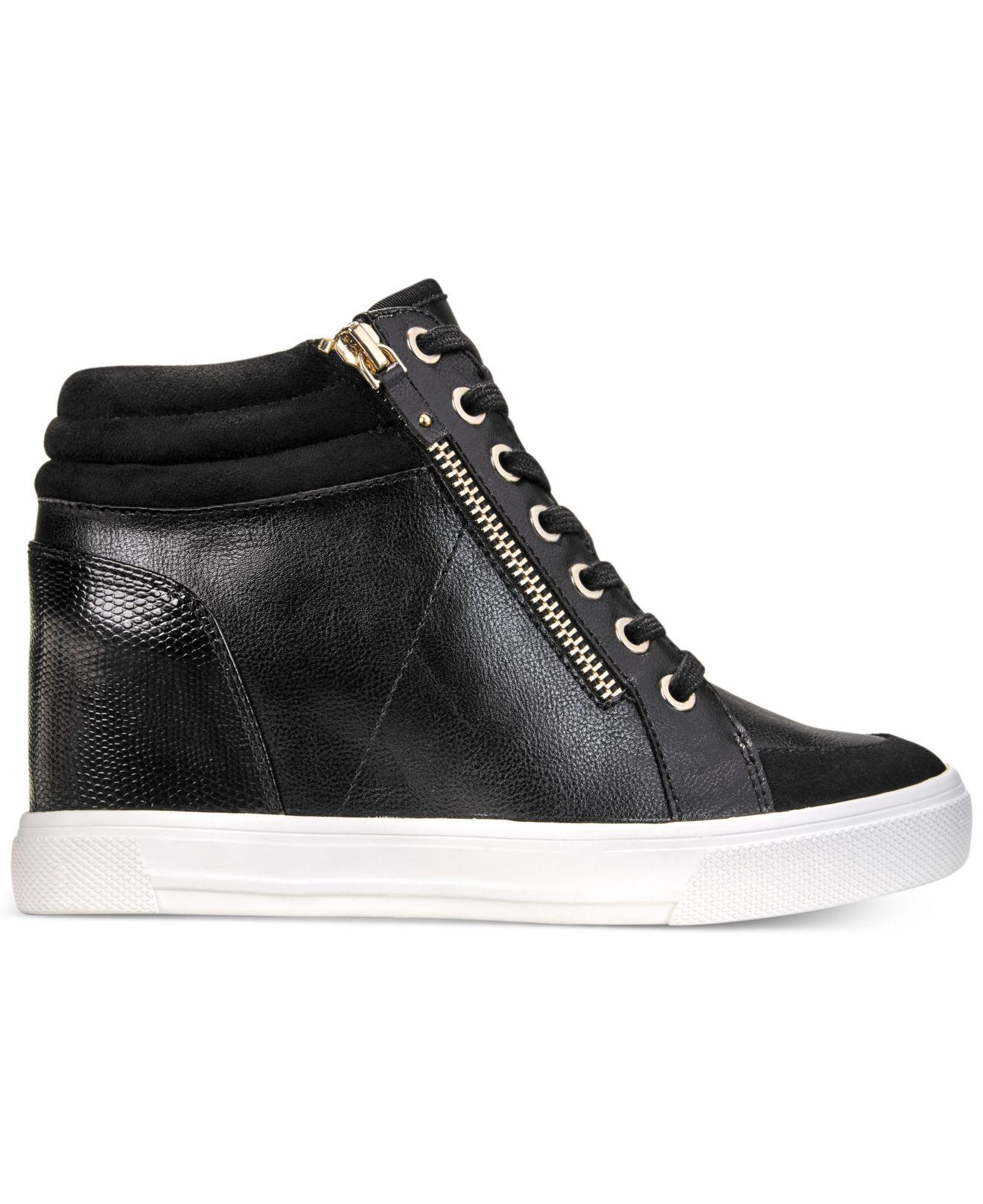 4ec5770ce66b Lyst - ALDO Kaia Lace-up Wedge Sneakers in Black