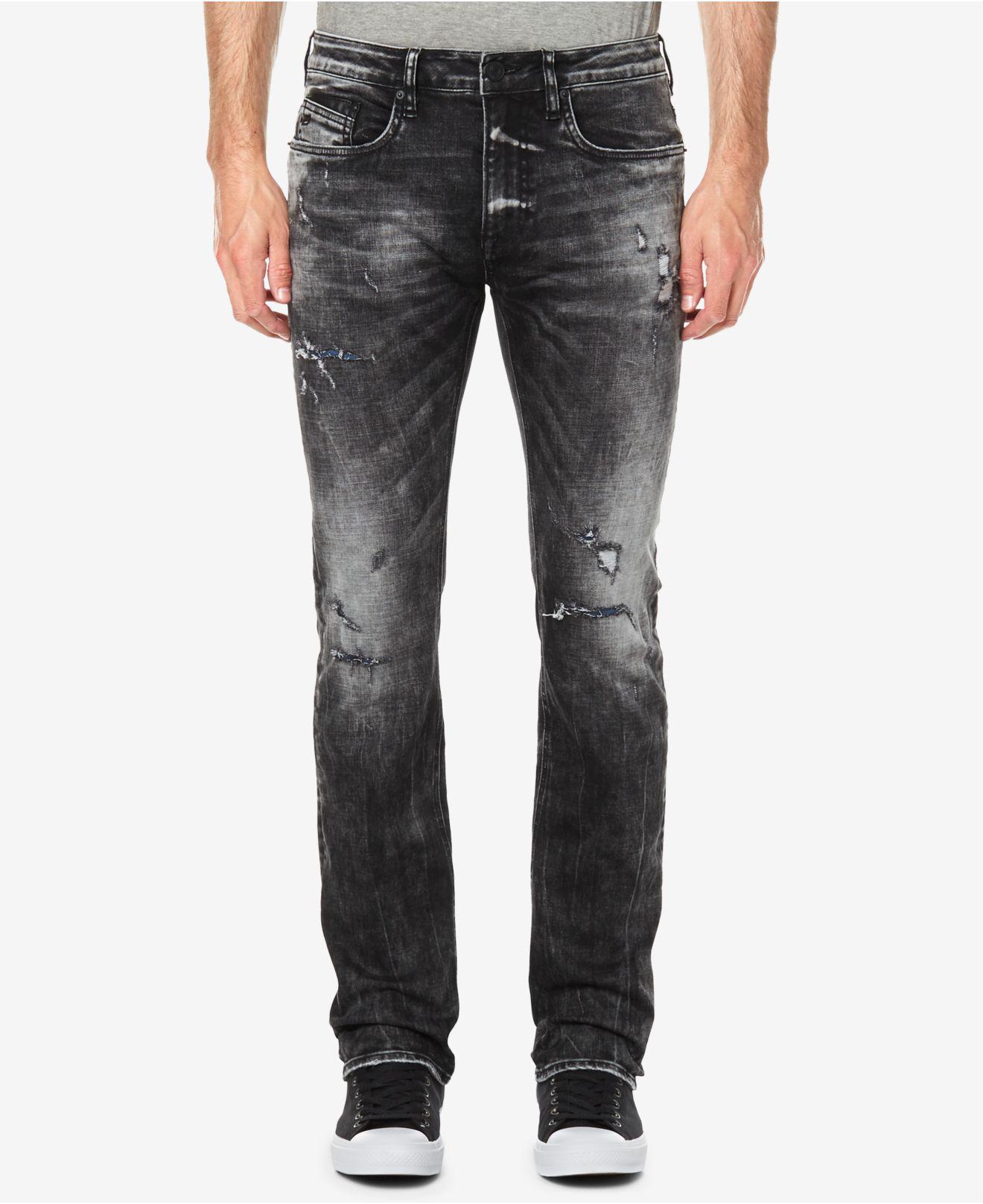 Buffalo Mens Six-X Basic Jeans Slim Straight Stretch Distressed Destroyed Worn