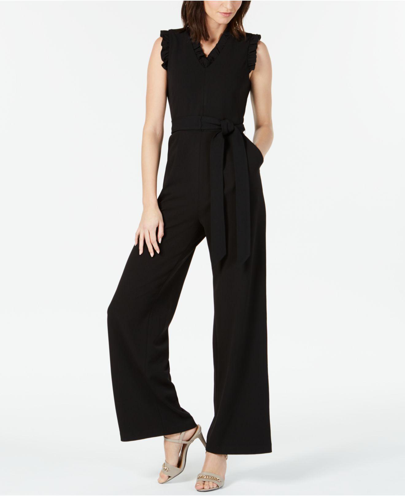 592b910933a Lyst - Calvin Klein Sleeveless Ruffled Wide-leg Jumpsuit in Black
