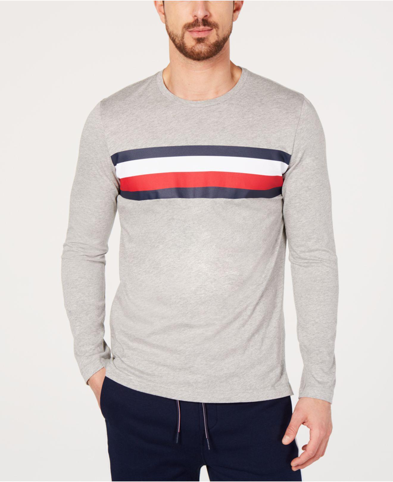 9ed26243112ab6 Lyst - Tommy Hilfiger Modern Essentials Logo-stripe T-shirt in Gray ...