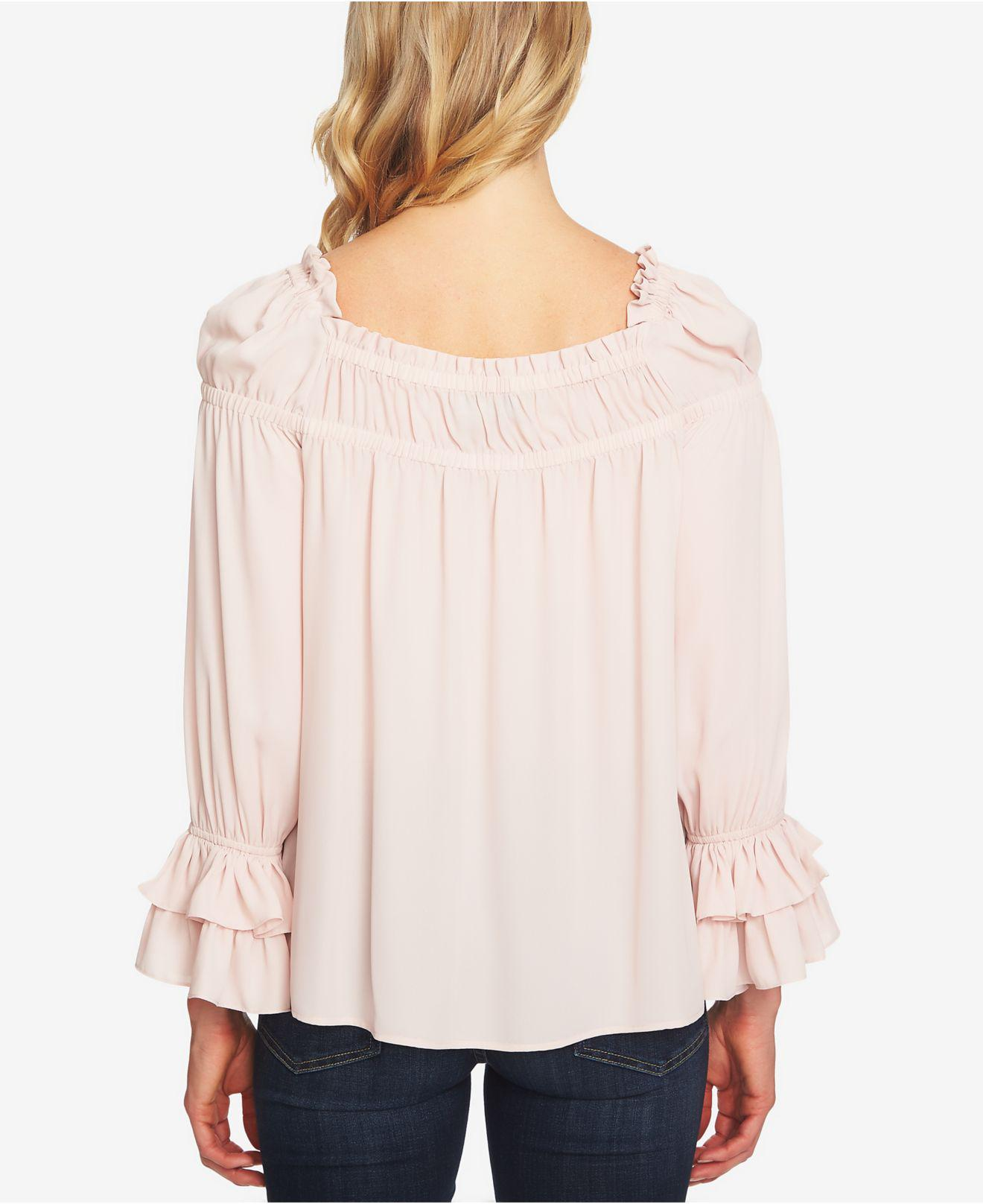 7fa482bf6 Cece Ruffled Puff-shoulder Top in Pink - Lyst