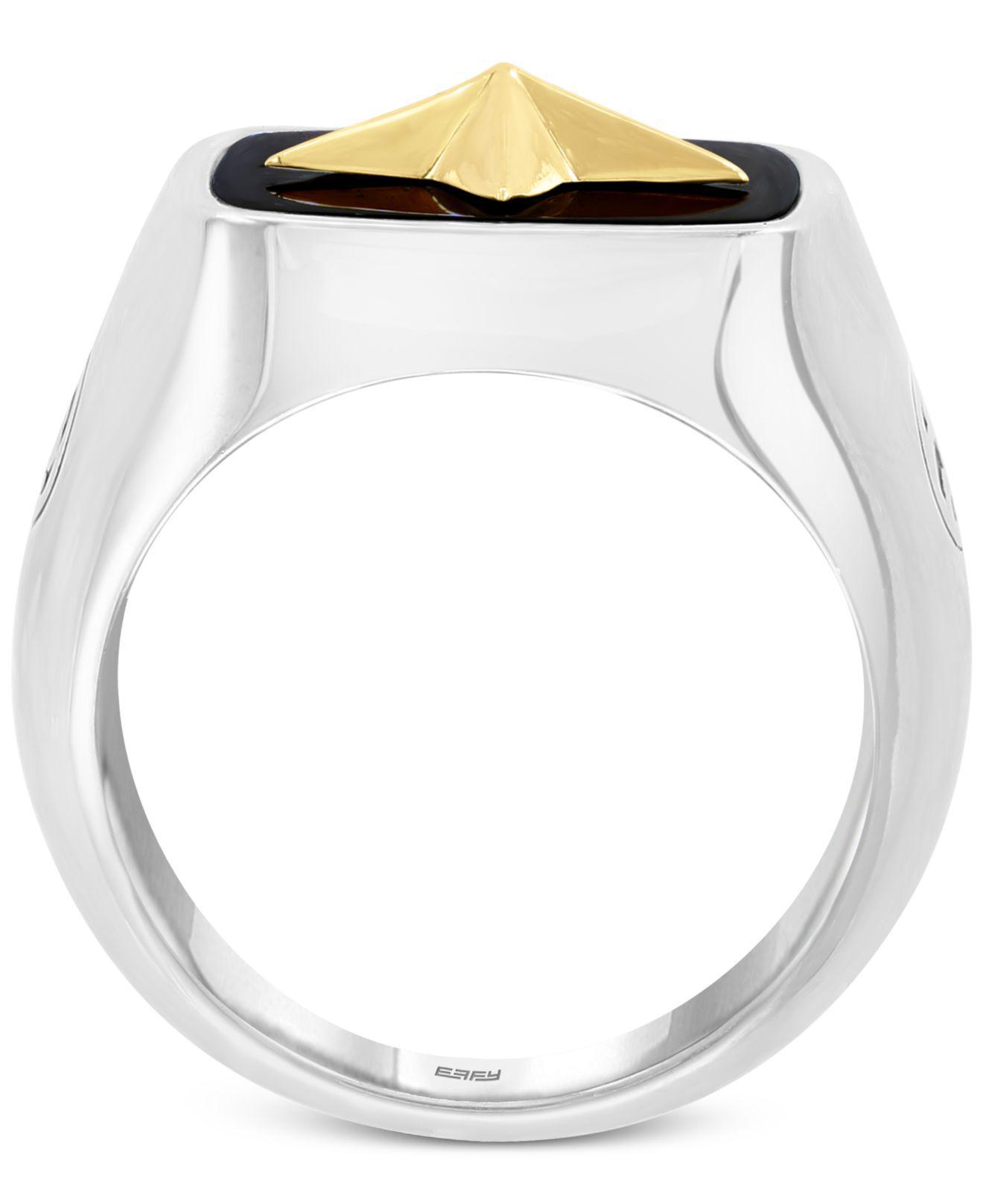 c2632638c36e5 Star Ring in Sterling EFFY® Men`s Onyx 15-1-2mm x 15-1-3mm