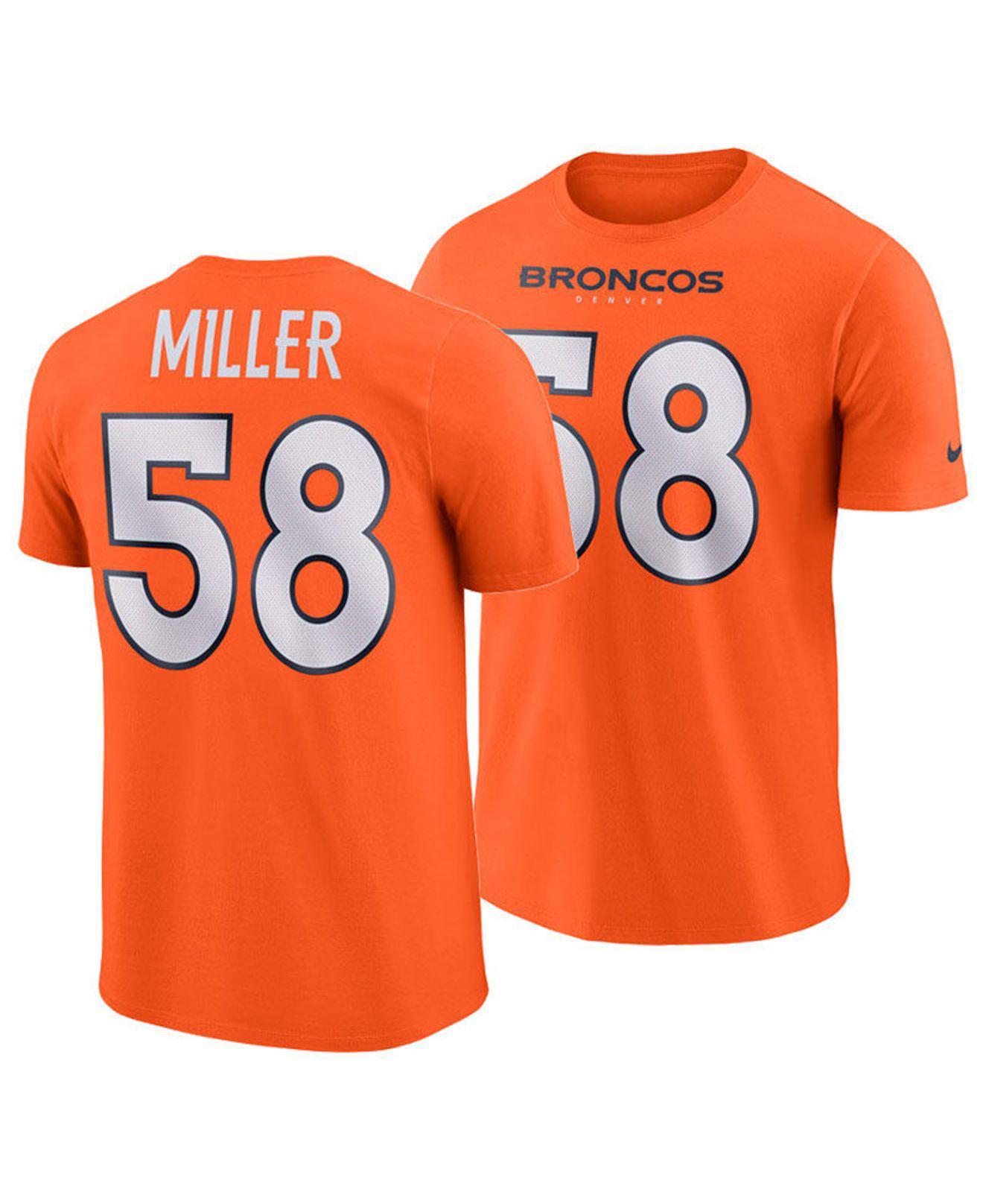 d568fc769 Nike. Men s Orange Von Miller Denver Broncos Pride Name And Number Wordmark  T-shirt