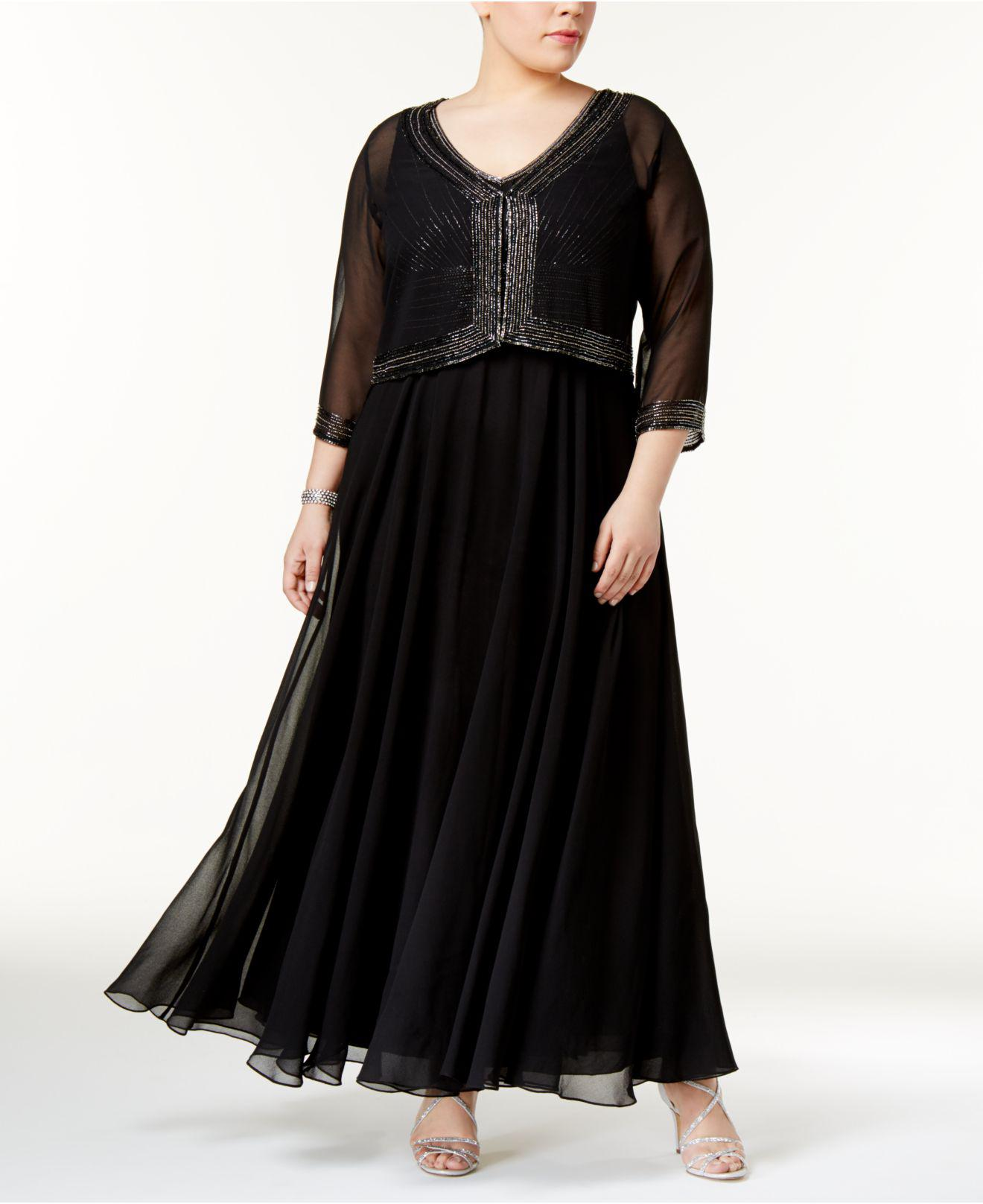Plus Size Beaded Gown And Jacket