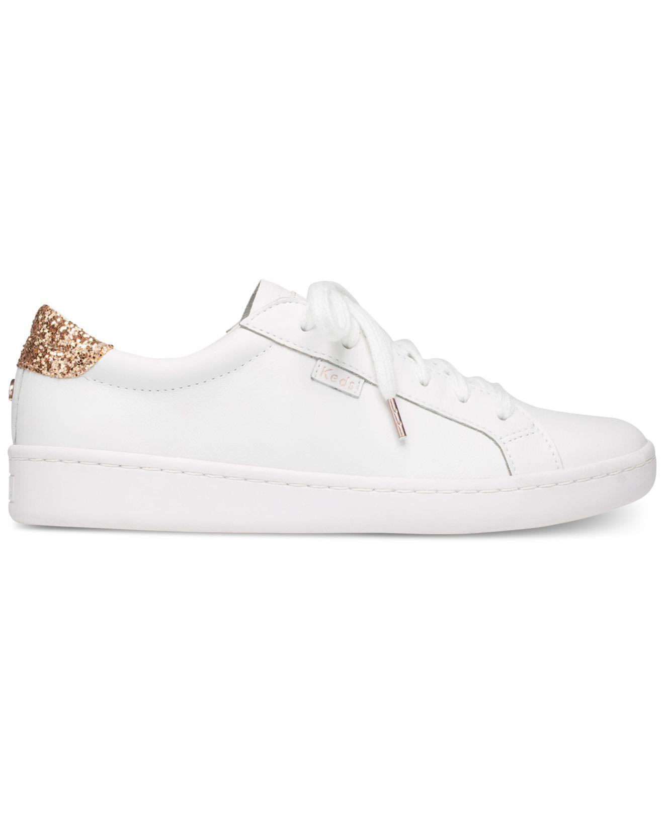 a5e6d48a04 Lyst - Kate Spade Keds X New York Leather And Glitter Sneakers in White