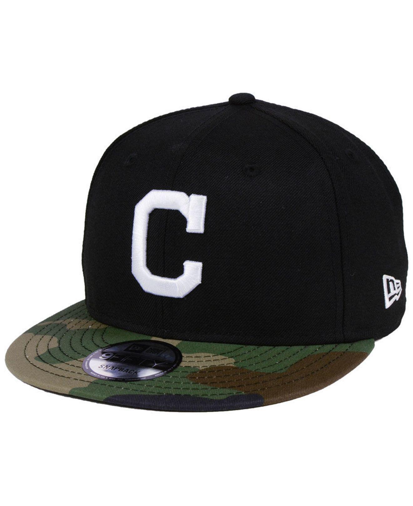 finest selection 42156 255b3 KTZ. Men s Cleveland Indians Woodland Black white 9fifty Snapback Cap