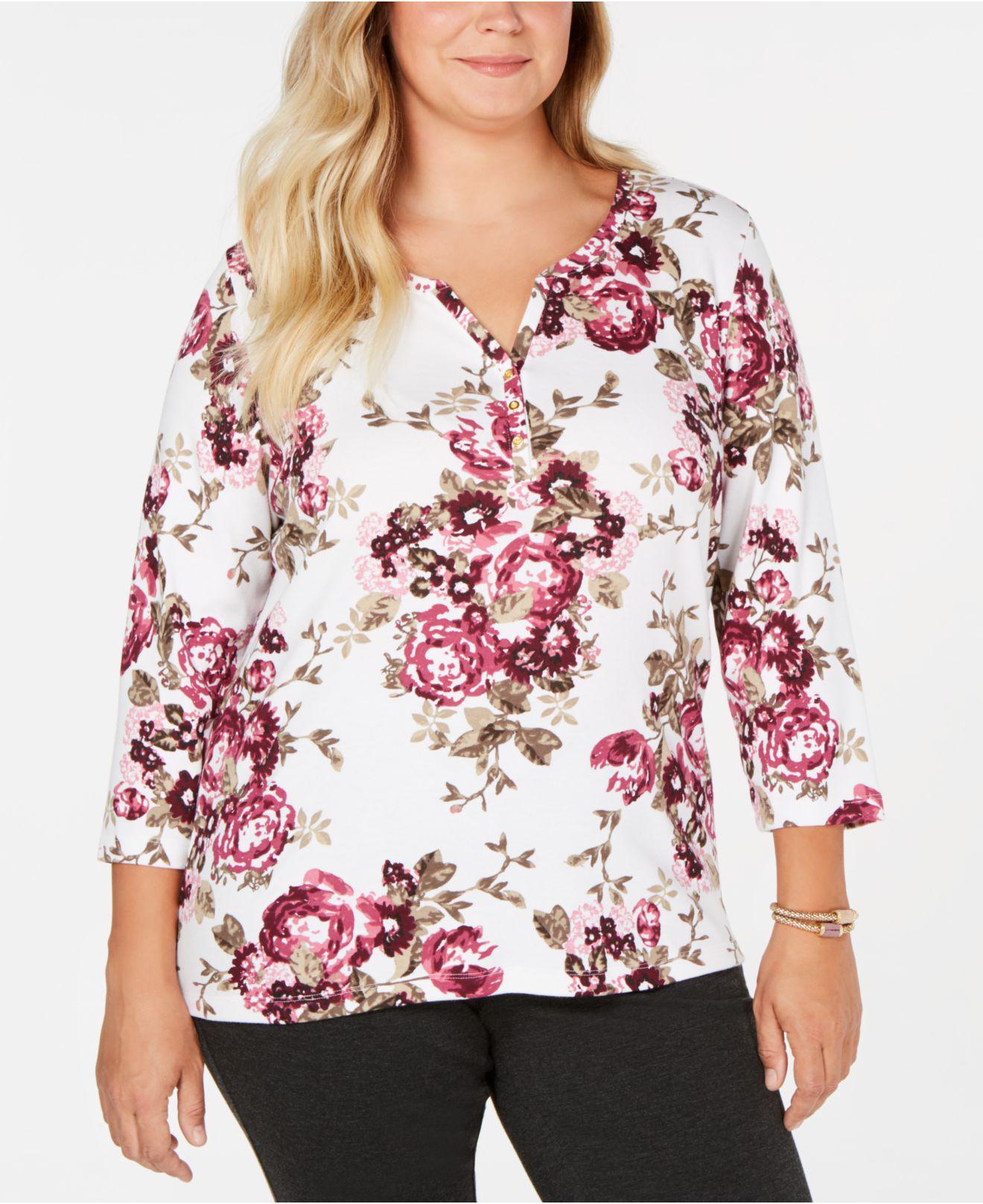 d14a0f2d6a041 Karen Scott. Women s Plus-size Printed 3 4-sleeve Henley