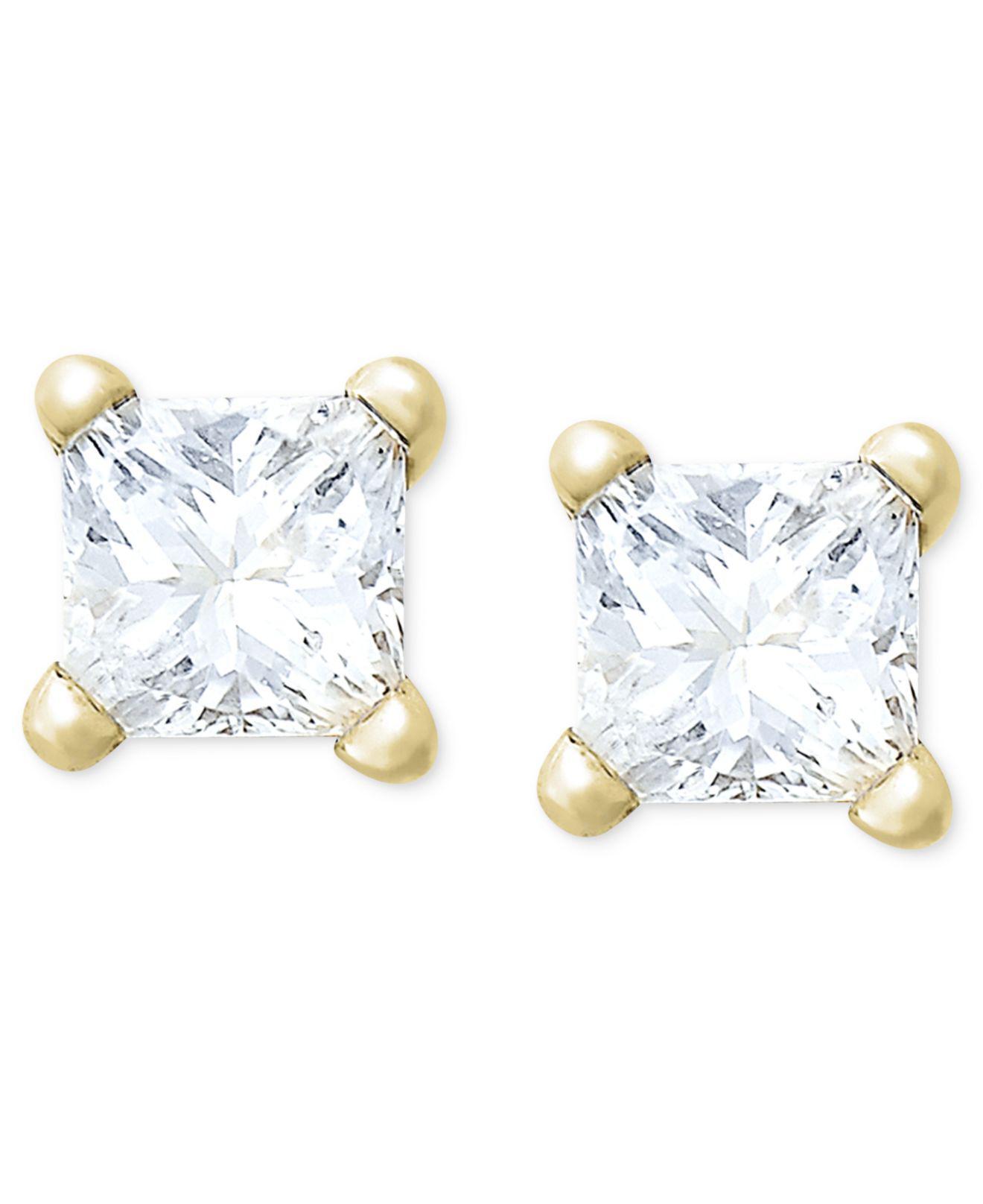 Macy S Women White Princess Cut Diamond Stud Earrings