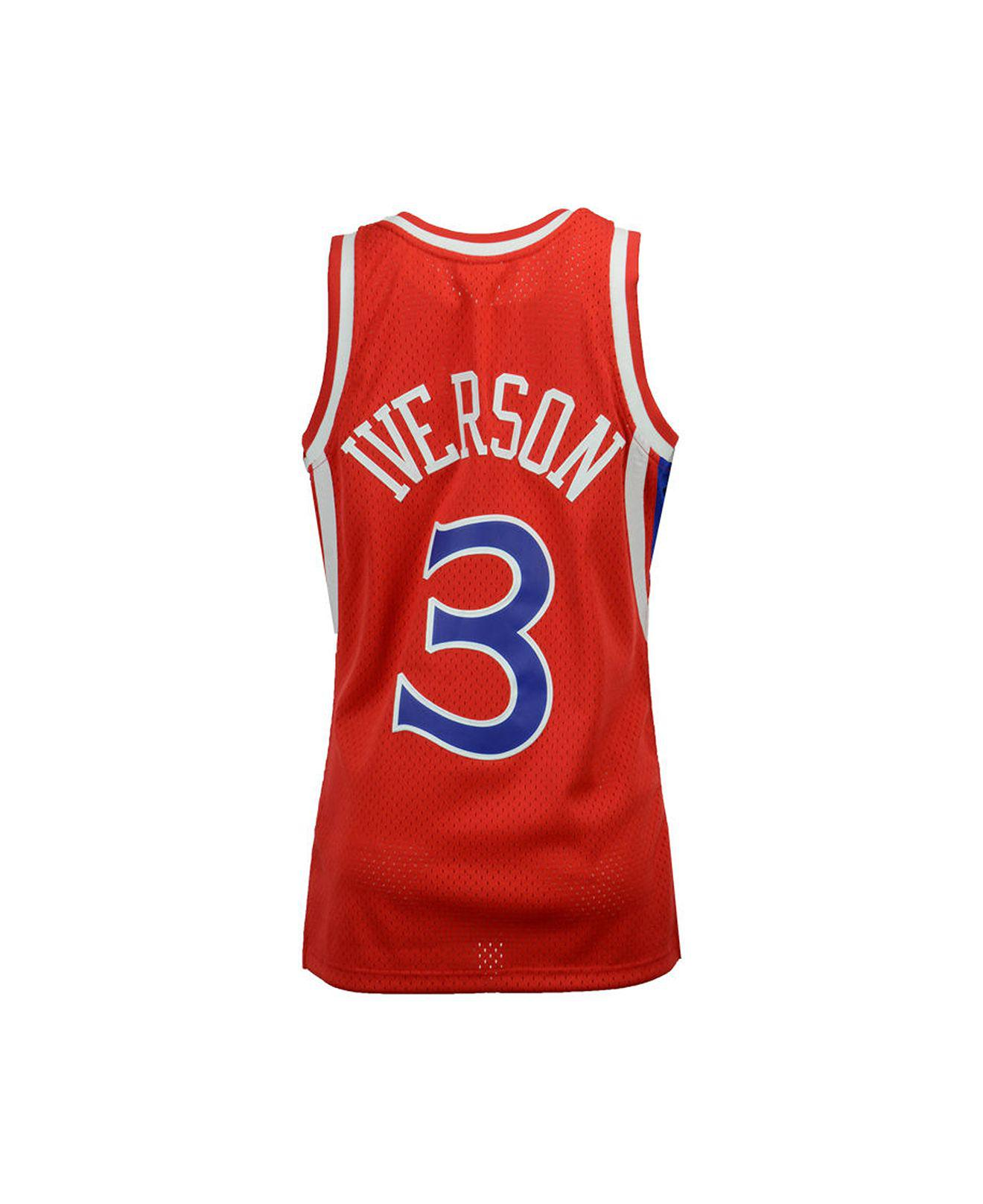 6e905c3bd ... mitchell ness. mens red allen iverson philadelphia 76ers hardwood  classic swingman jersey