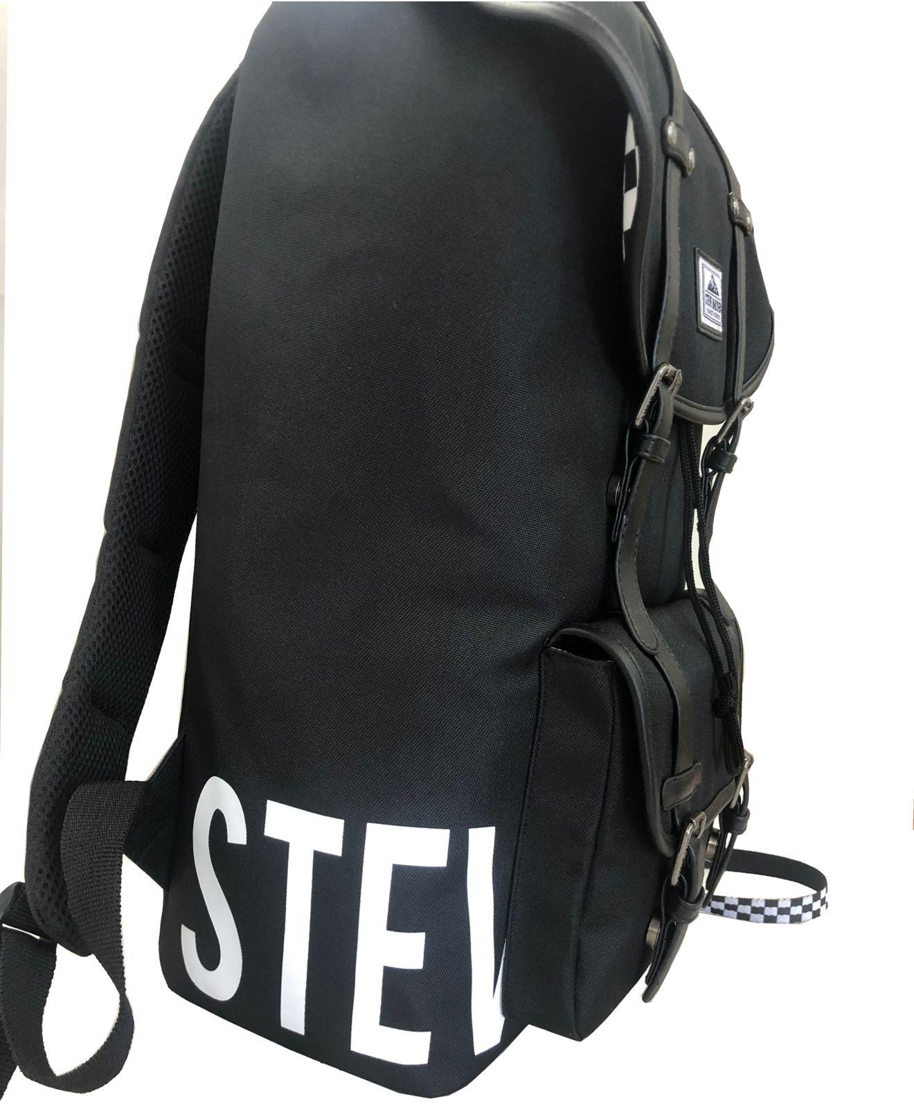 One Size Steve Madden Mens Logo Utility Backpack with Keychain Olive Multi Camo