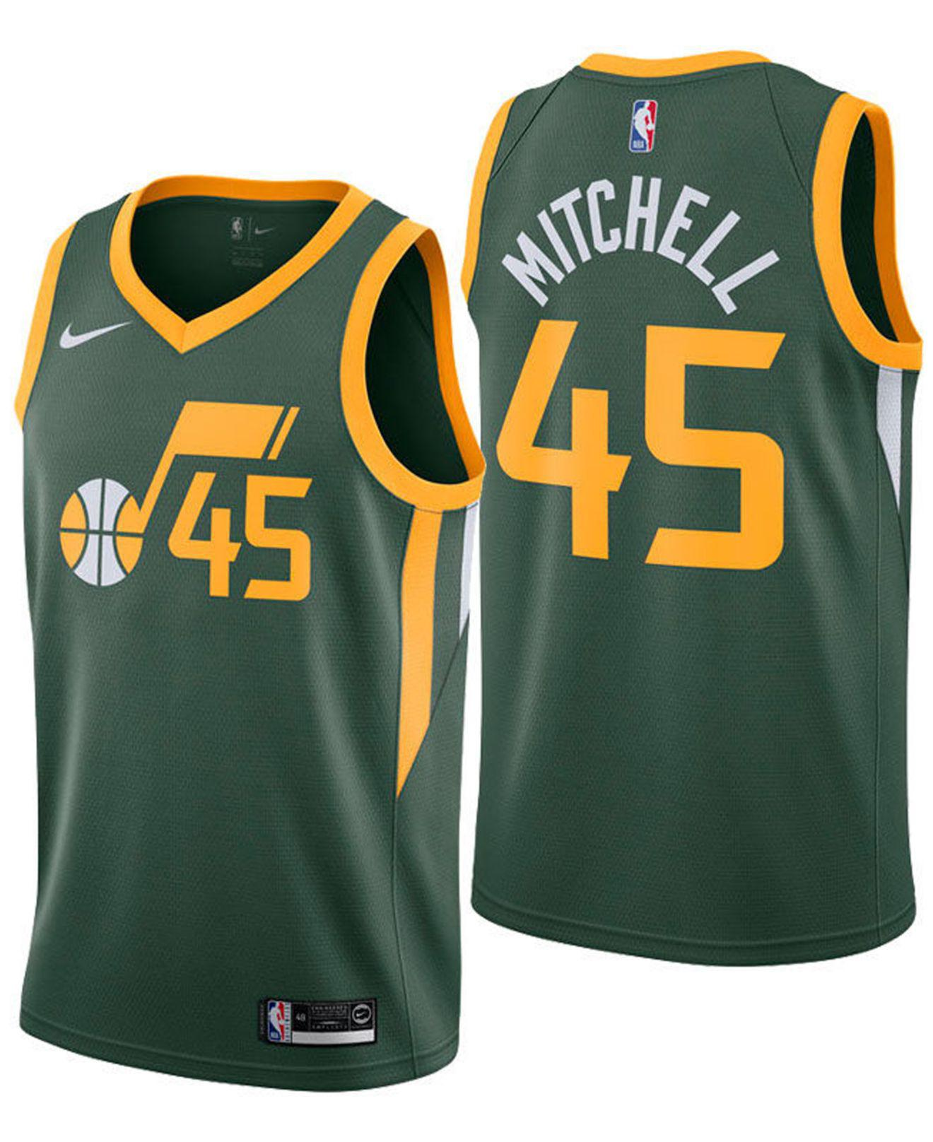 reputable site bf896 dce62 Men's Green Donovan Mitchell Utah Jazz Earned Edition Swingman Jersey
