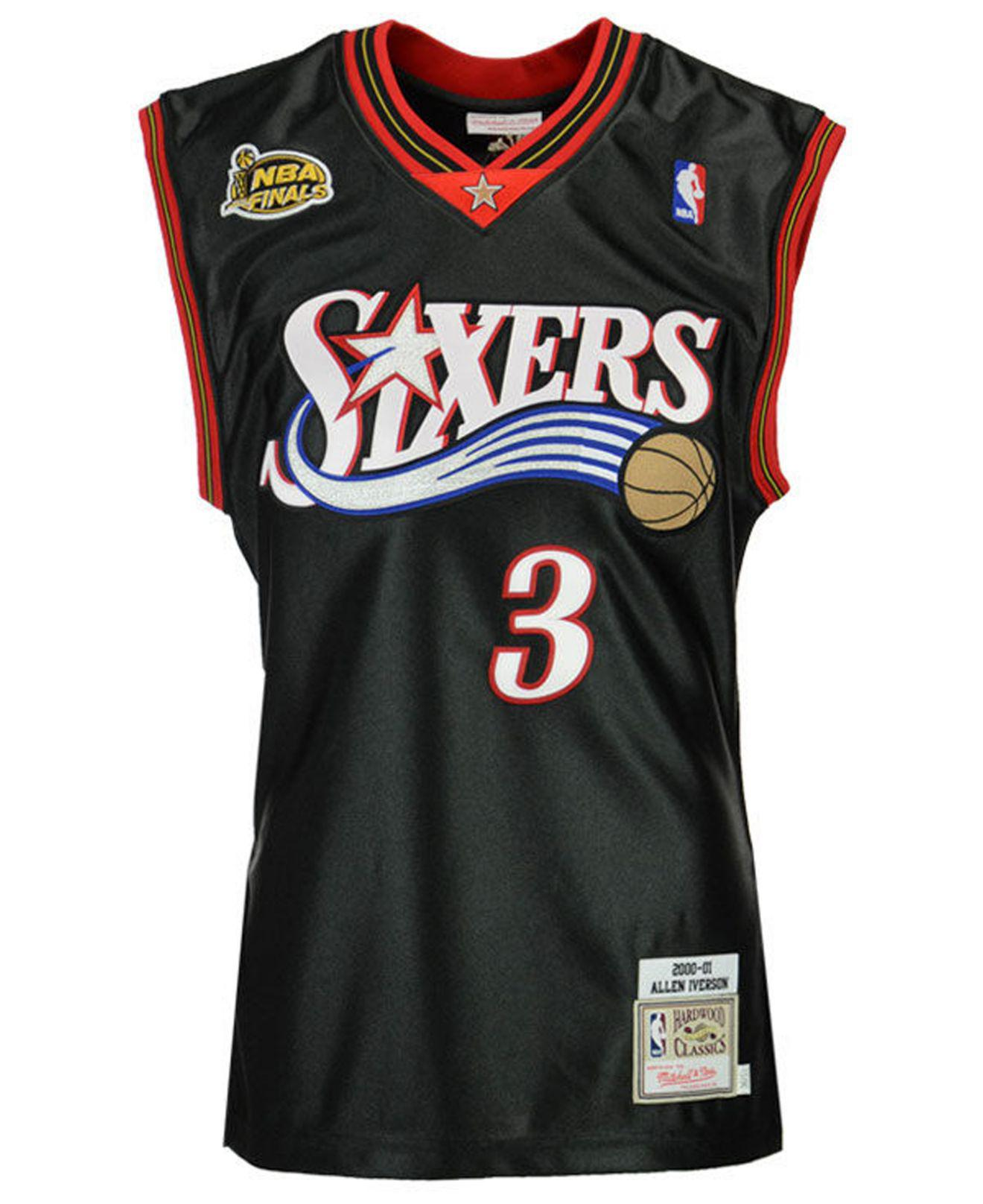 cheaper 7760e 00e9a Men's Black Allen Iverson Philadelphia 76ers Authentic Jersey