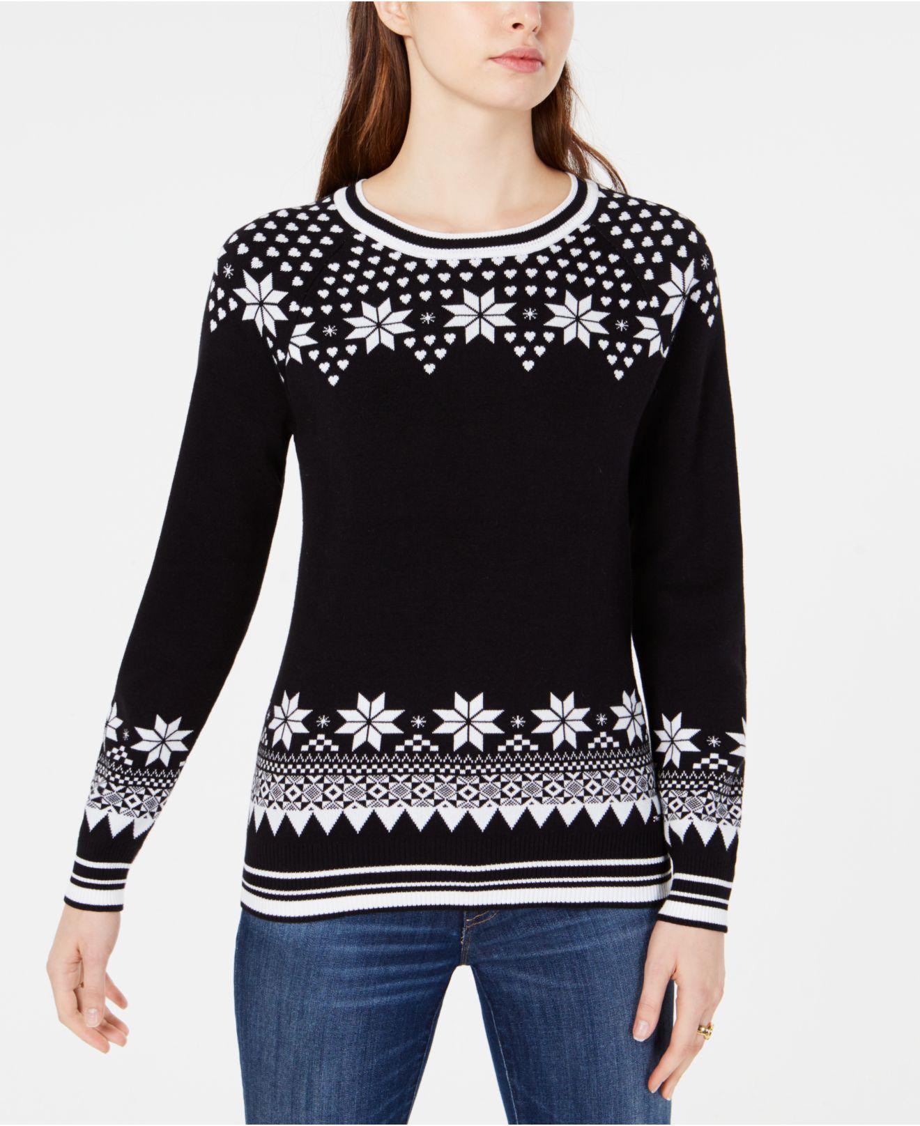 89ccb91074a Tommy Hilfiger. Women s Black Cotton Fair Isle Sweater ...