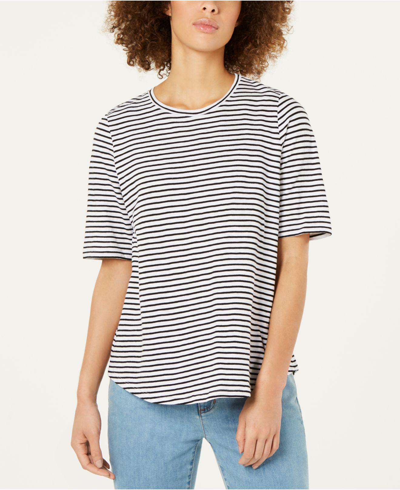 86d8364b812 Lyst - Eileen Fisher Striped Crewneck Tee in Black - Save 45%