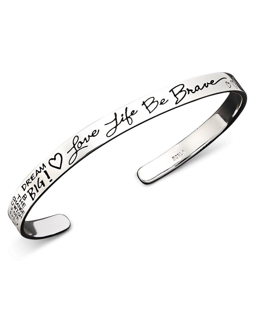Lyst Macys Inspirational Sterling Silver Bracelet Love Life Be