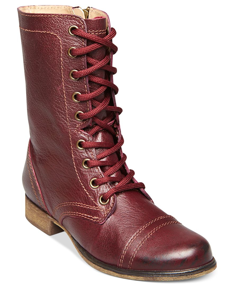 Steve Madden Women S Troopa Combat Boots In Red Lyst