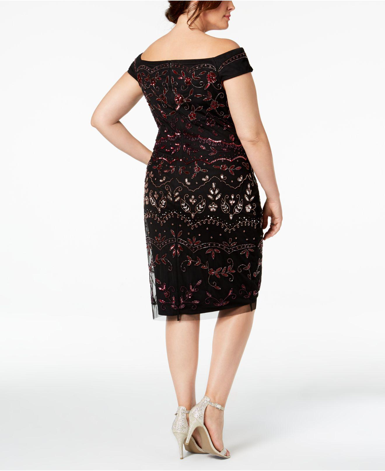17ceeffe82 Adrianna Papell Plus Size Embellished Off-the-shoulder Dress in Black - Lyst