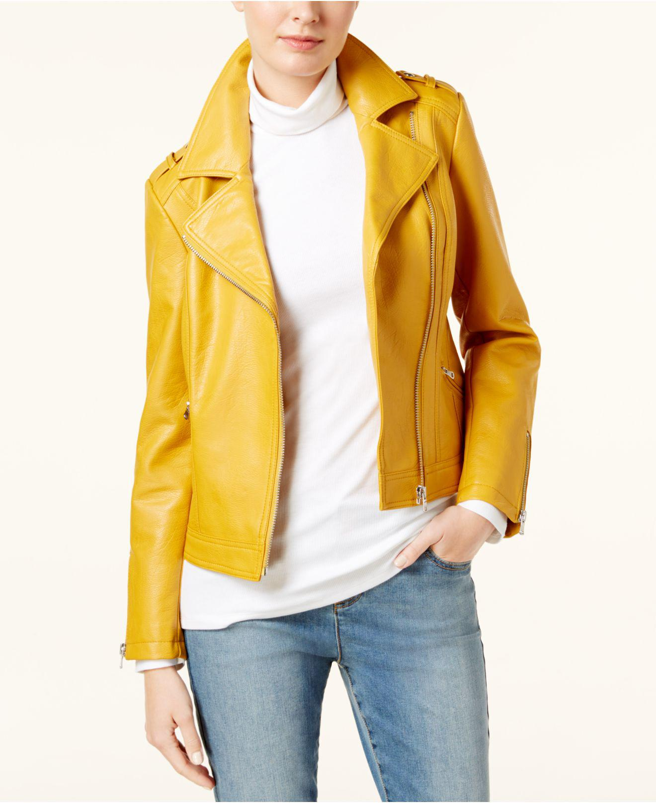 00944a44d299a Lyst - Inc International Concepts Faux-leather Moto Jacket in Yellow ...