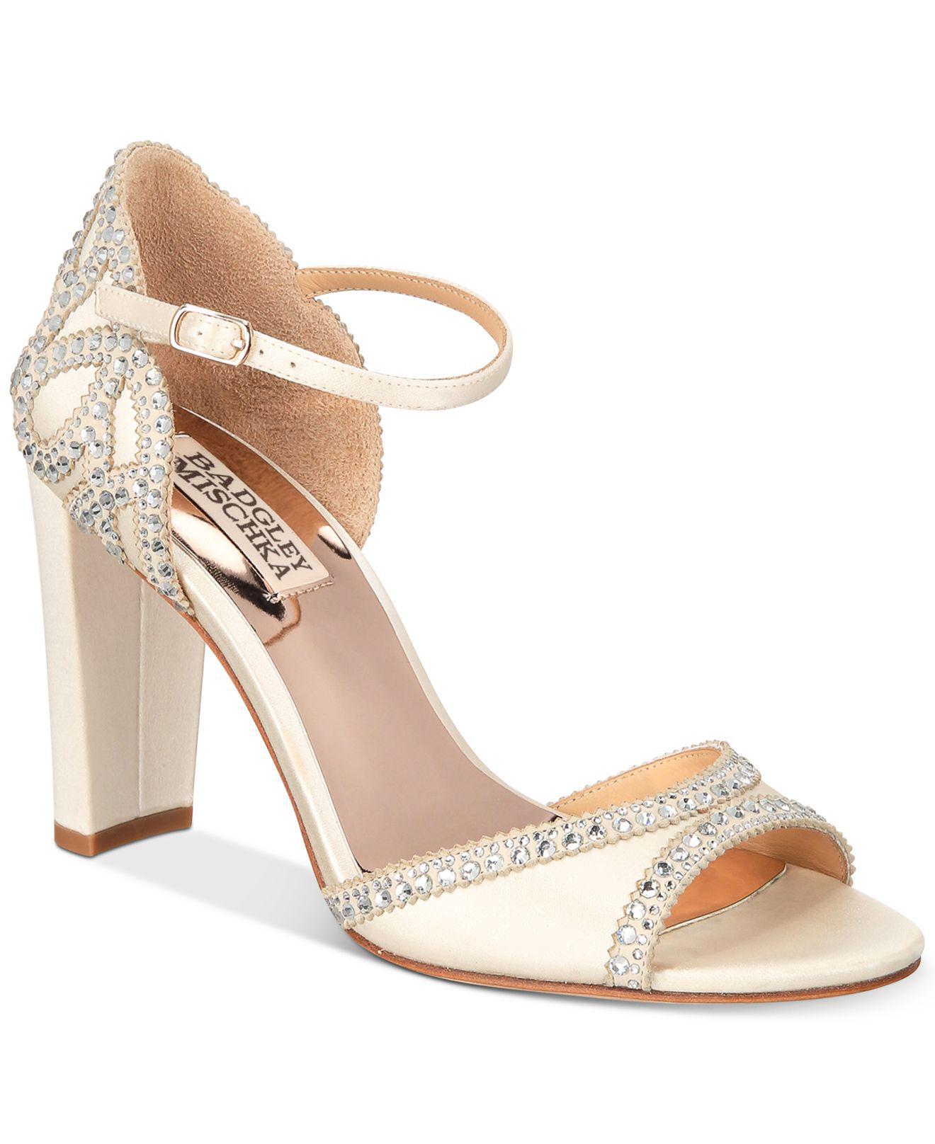 Lyst - Badgley Mischka Kelly Embelished Block-heel Evening Sandals
