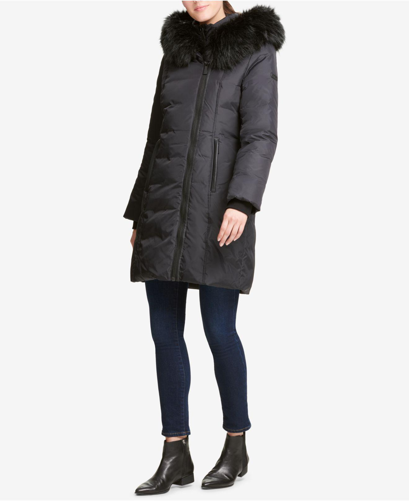 DKNY Faux-fur-trim Hooded Puffer Coat, Created For Macy's ...