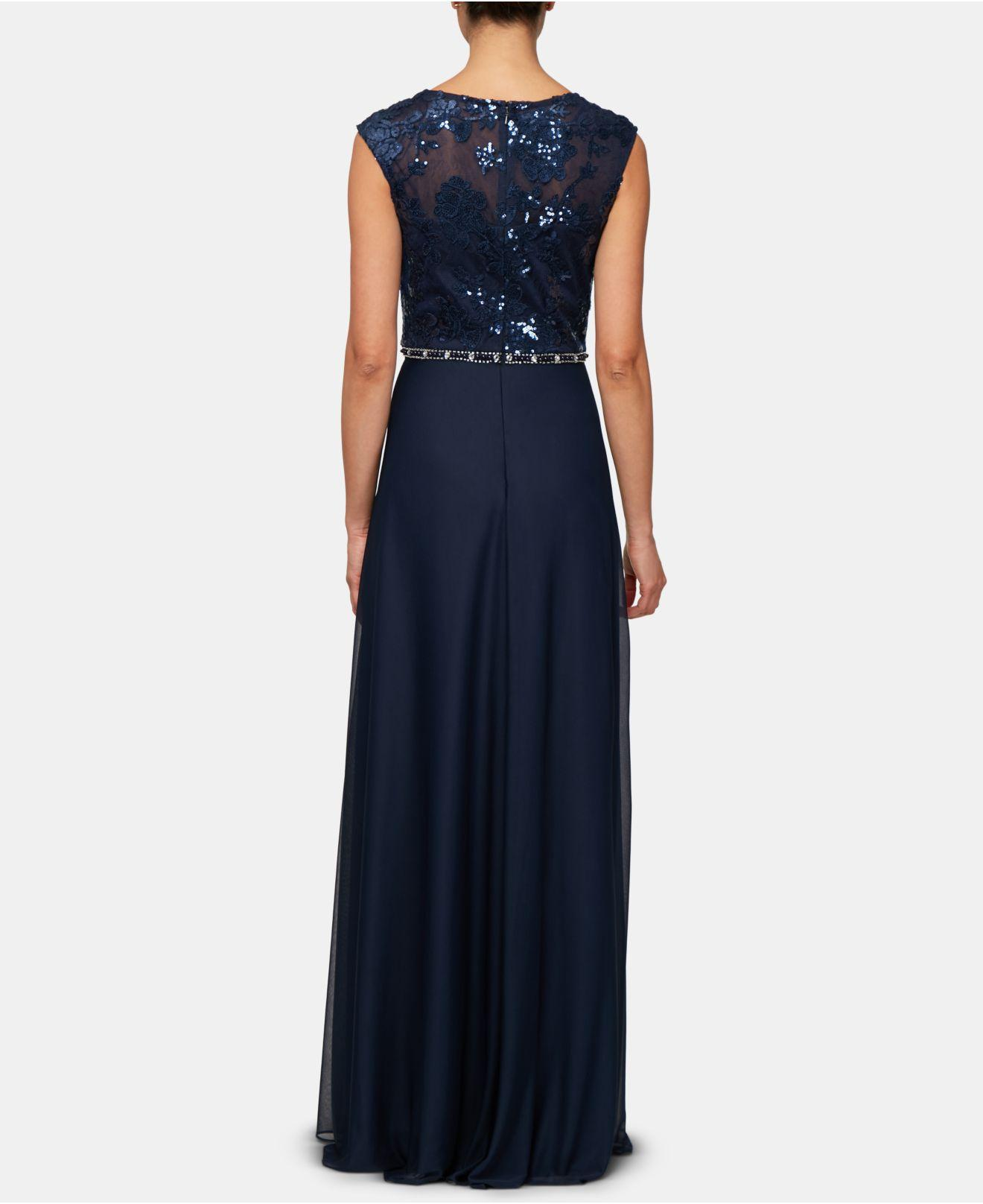 bf2ba053196 Lyst - Alex Evenings Petite Embellished Gown   Shawl in Blue