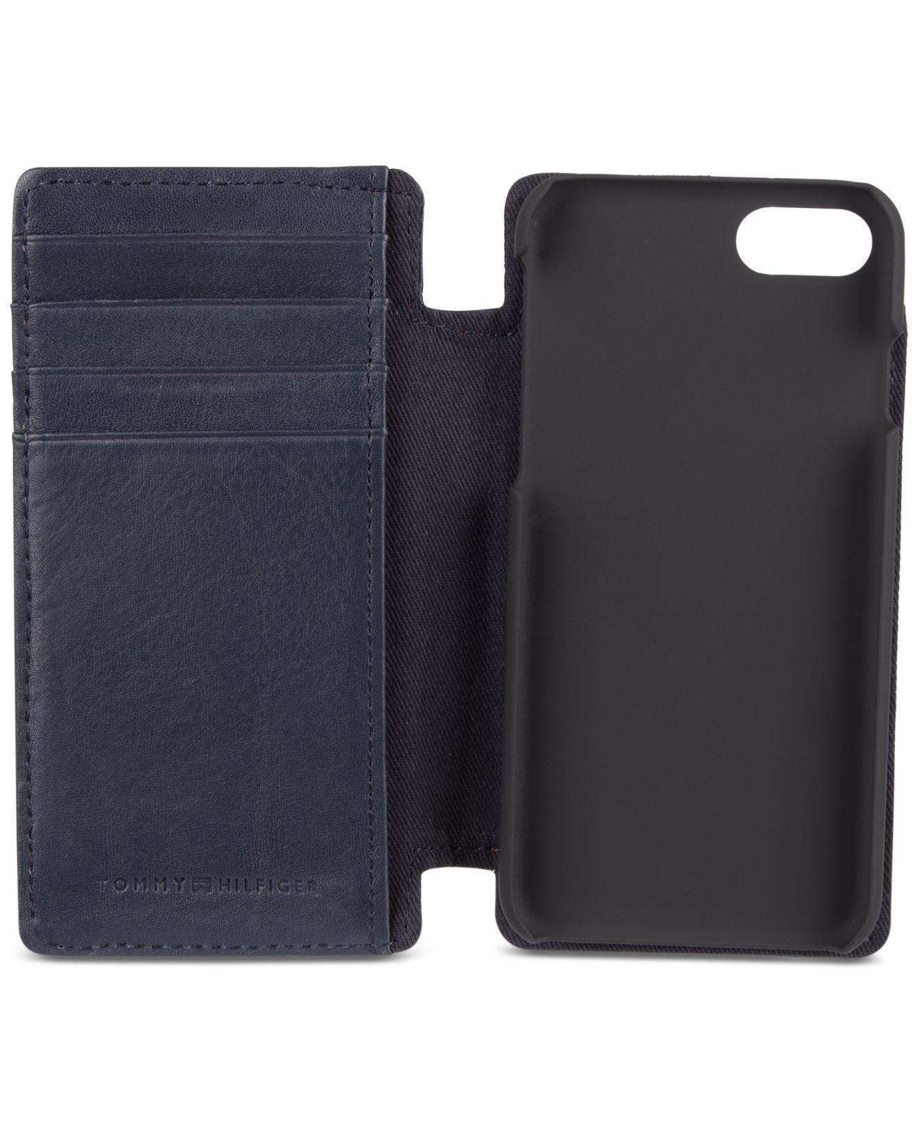 new concept d27cb 6dddc Tommy Hilfiger Blue Men's Magnetic Folio Iphone 7 Case for men