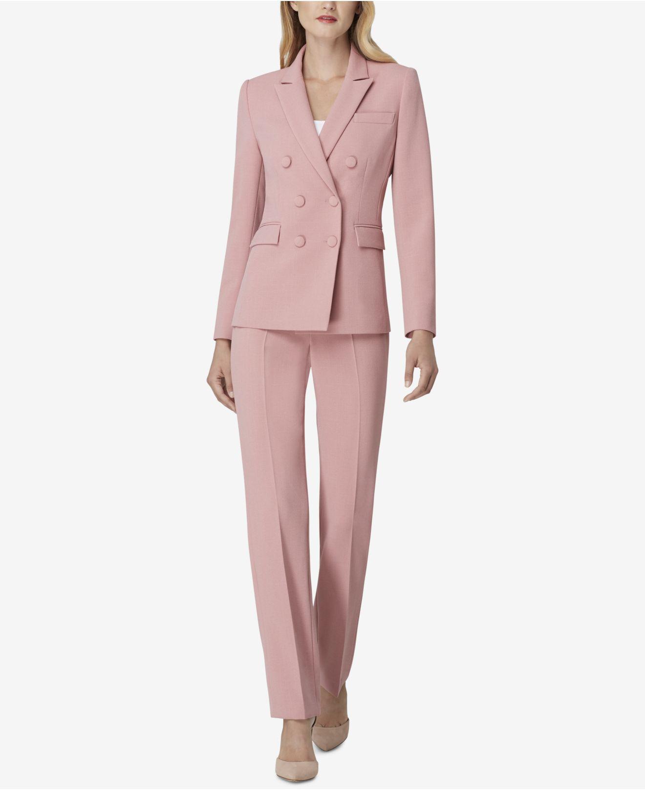 25e90b8eeeff8 Tahari Petite Peak-lapel Pant Suit in Pink - Lyst