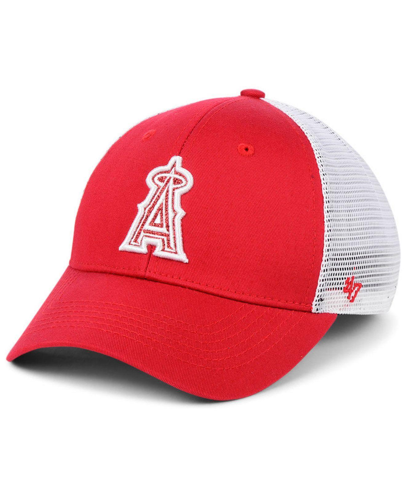 more photos fe0d7 1f260 47 Brand. Women s Red Los Angeles Angels Branson Glitta Trucker Strapback  Cap