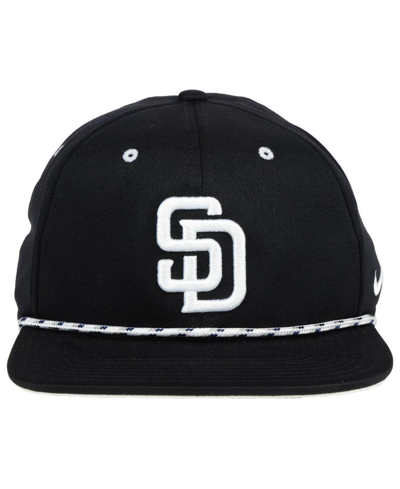 newest 4e43a 72c67 ... reduced lyst nike san diego padres string bill snapback cap in black  for men c69df 24f8a
