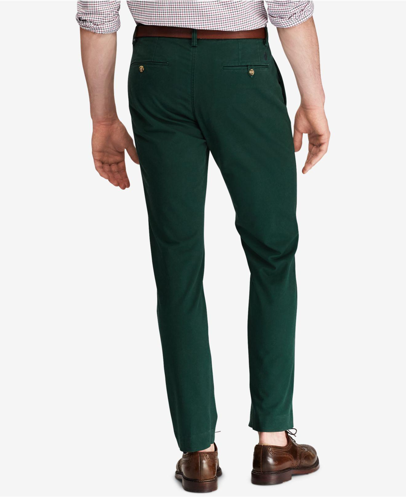 ab65a80c1e Men's Green Bedford Stretch Straight Fit Chino Pants