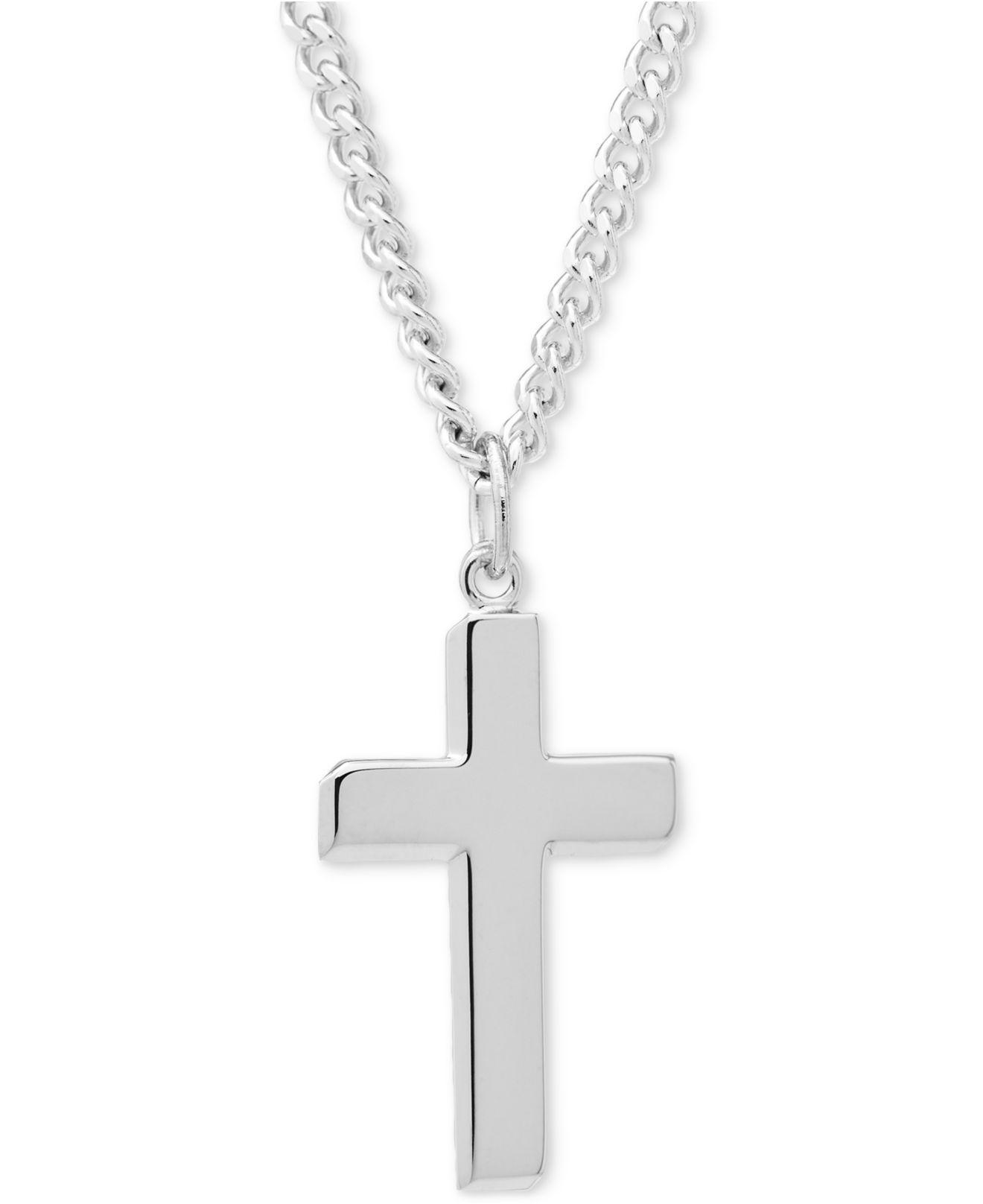 Macy's Simple Cross Pendant Necklace In Sterling Silver in ...