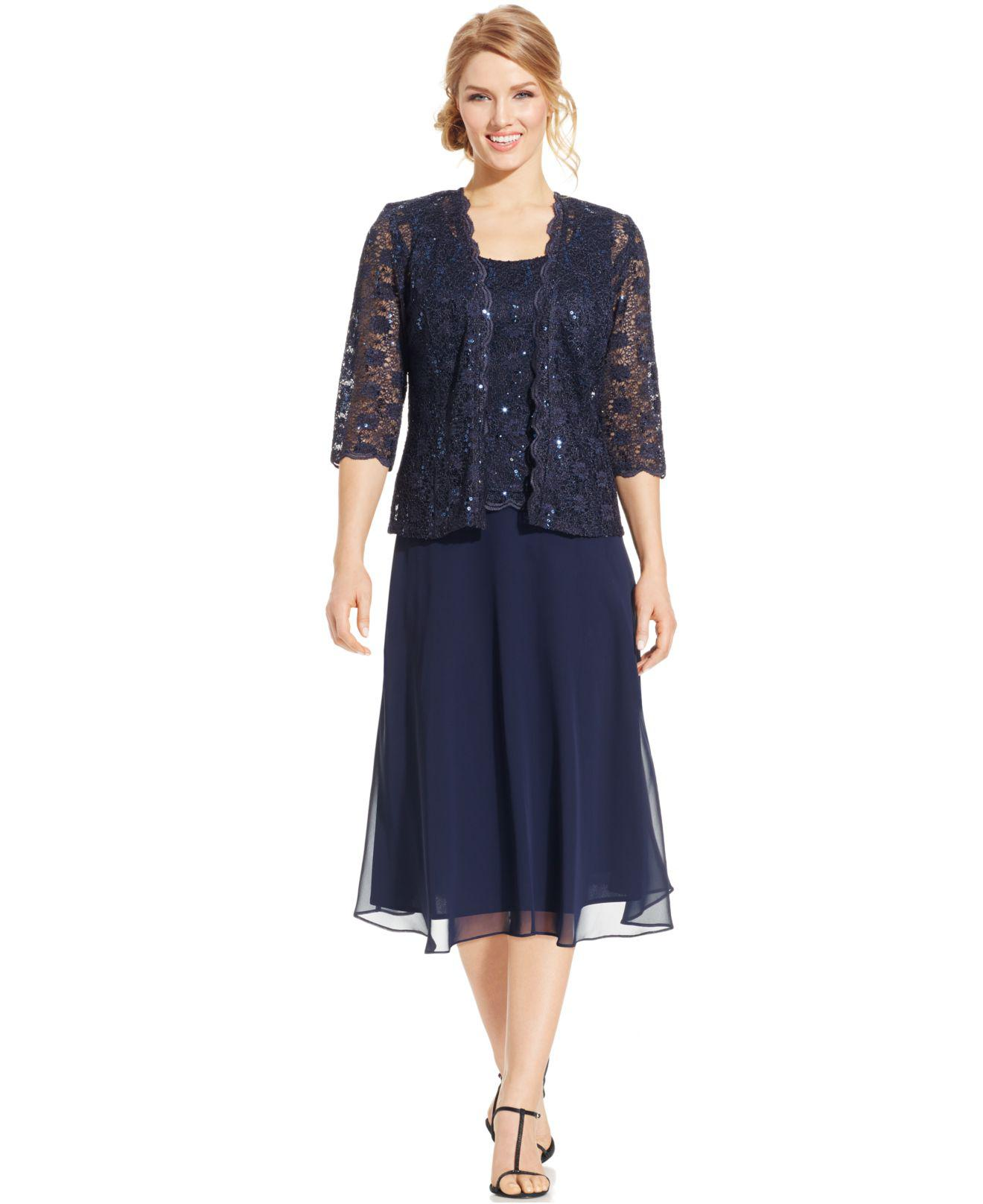 Rm Richards Sequined Lace Chiffon Dress And Jacket