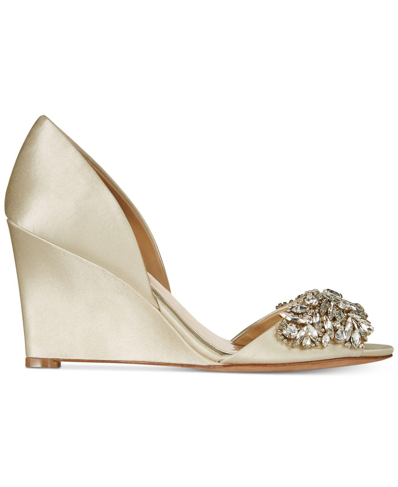 4205e6f3c8 Lyst - Badgley Mischka Hardy Evening Wedge Sandals in White