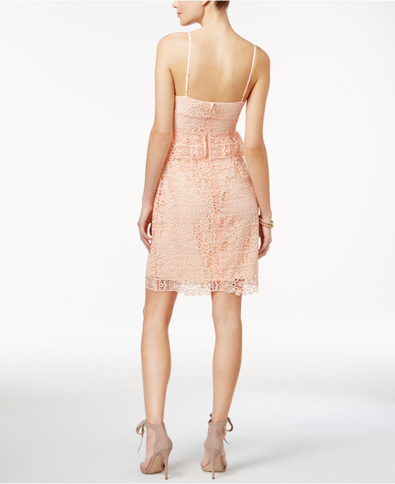647bef6da22 Lyst - Guess Solstice Lace Bodycon Dress in Pink