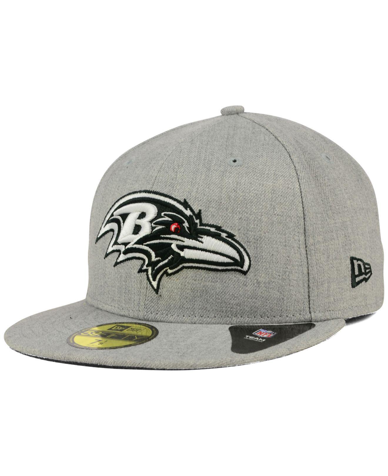 Lyst - KTZ Baltimore Ravens Heather Black White 59fifty Cap in Gray ... a6ef915cdbe6
