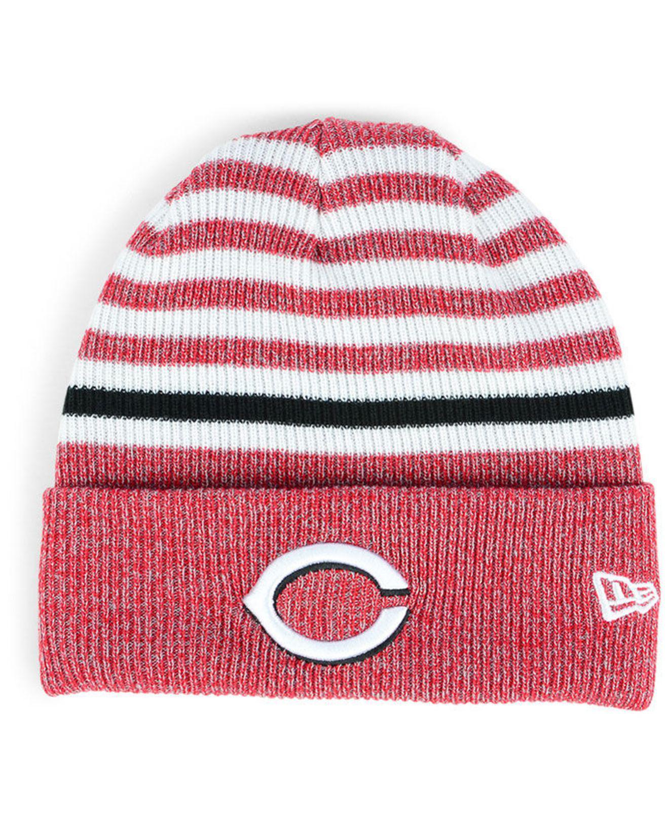new arrival c3799 d96b7 ... clearance ktz. womens cincinnati reds striped cuff knit hat 12d73 a49dc