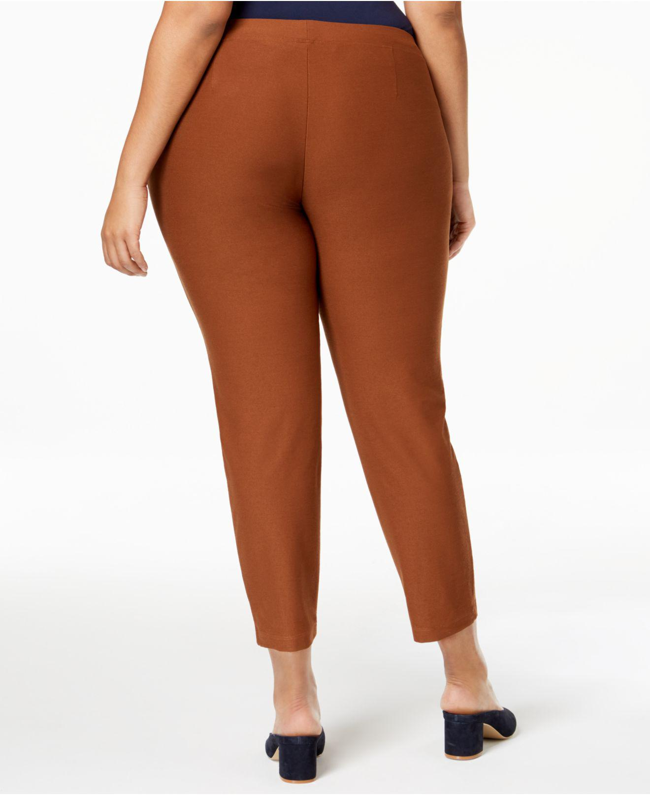 ba39c652650 Lyst - Eileen Fisher Plus Size Washable Crepe Slim Ankle Pants in Brown