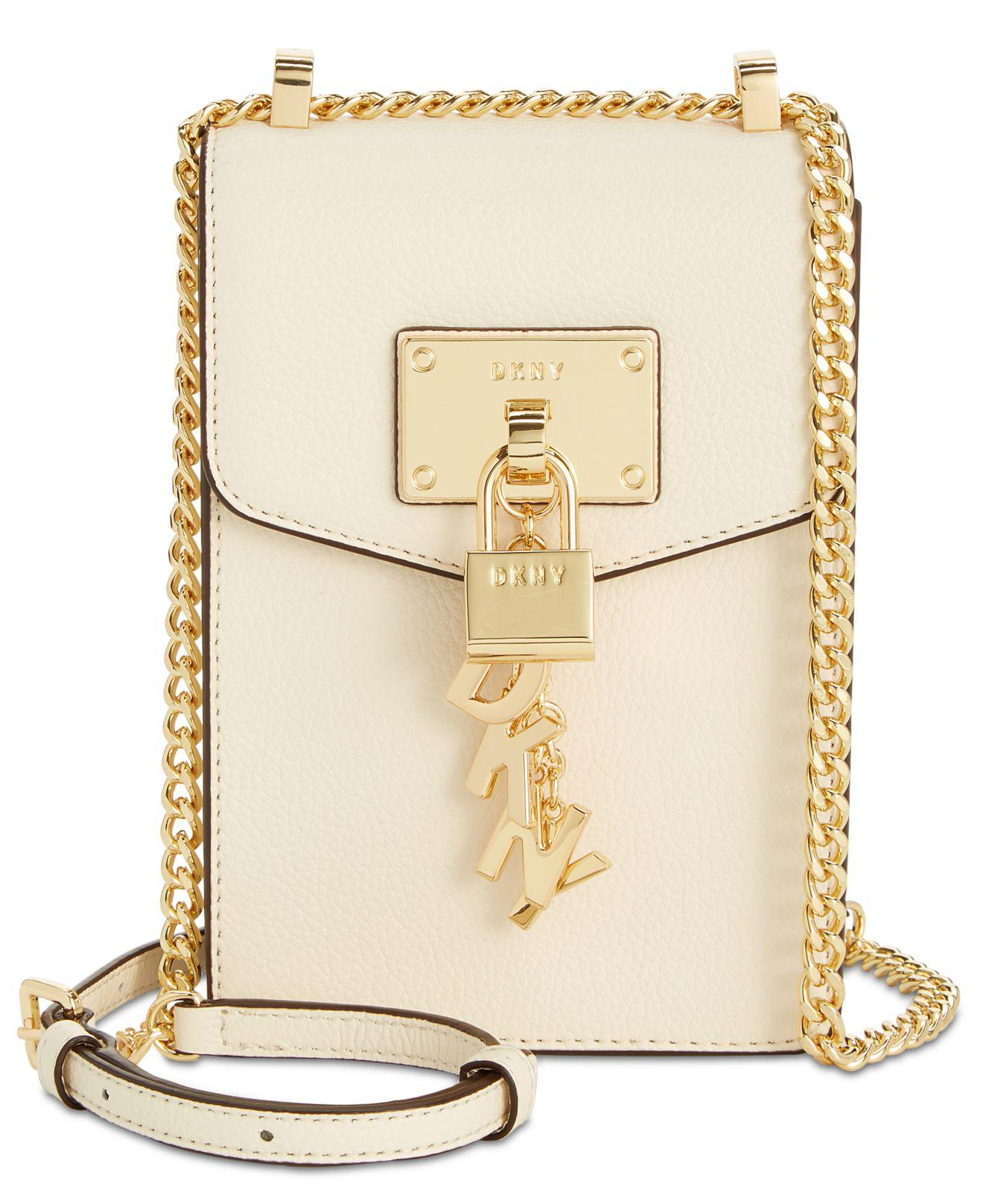 DKNY Elissa Pebbled Charm Chain Strap Crossbody
