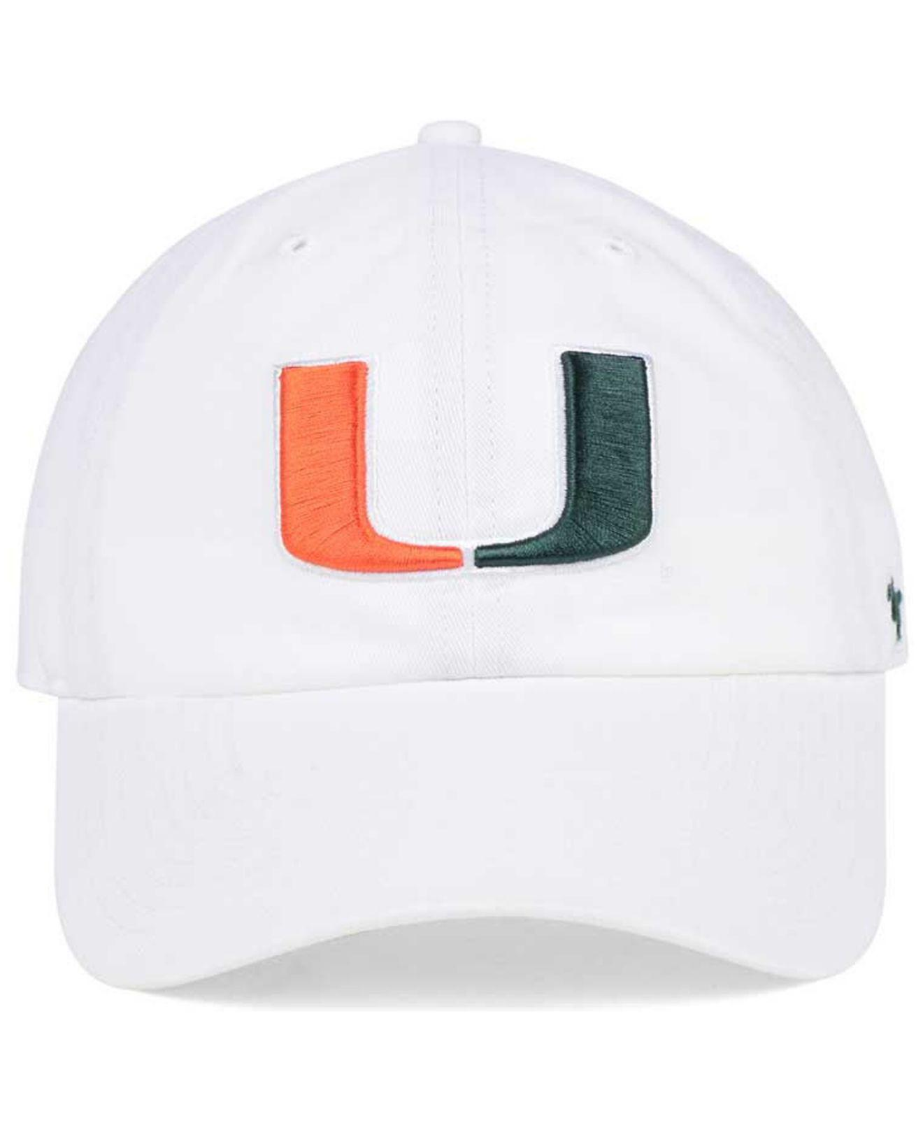 sale retailer 2ea09 8349a Lyst - 47 Brand Miami Hurricanes Clean Up Cap in White for Men