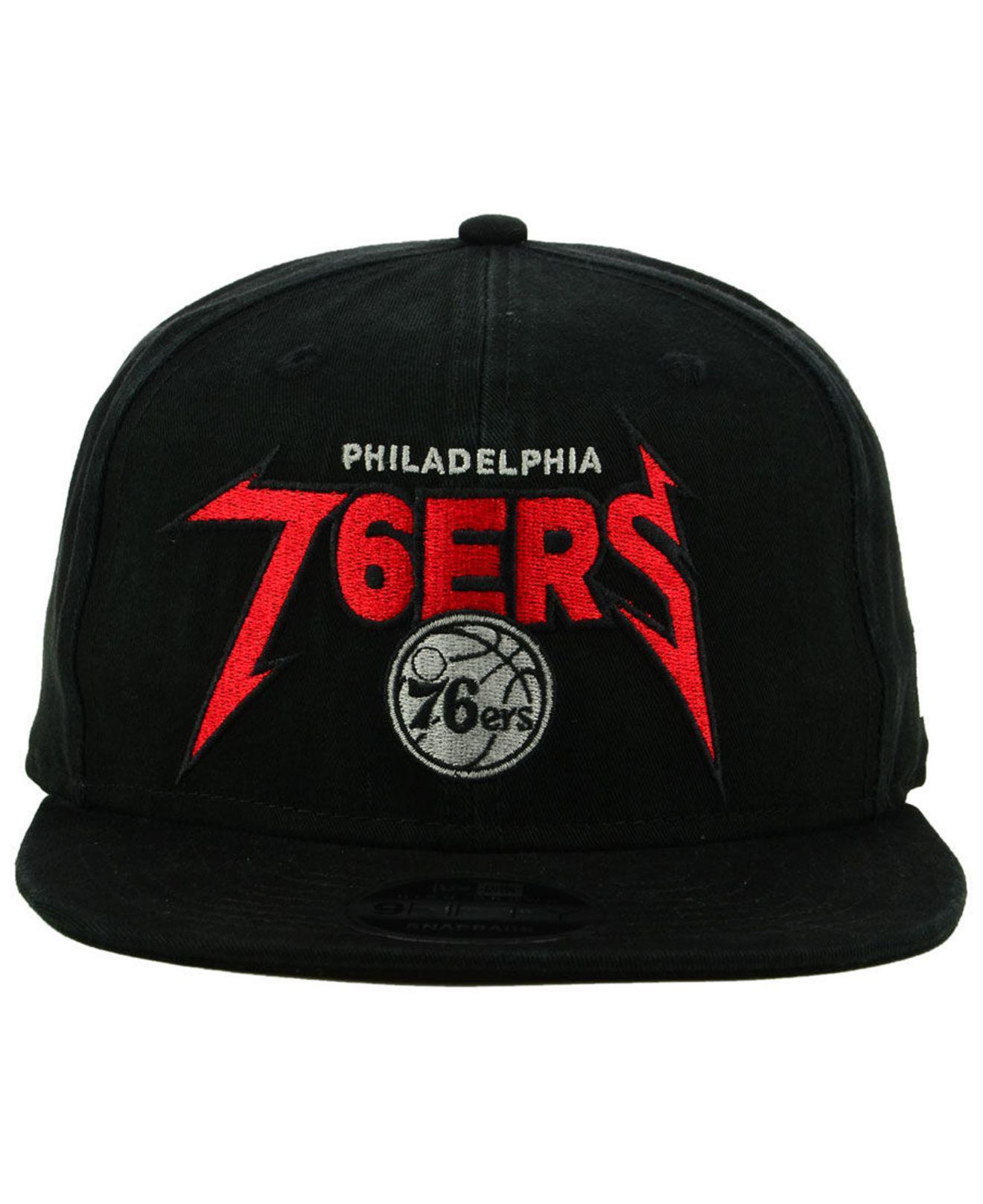 pretty nice c54ac 1f7ec ... new zealand lyst ktz philadelphia 76ers 90s throwback groupie 9fifty  snapback cap in black for men