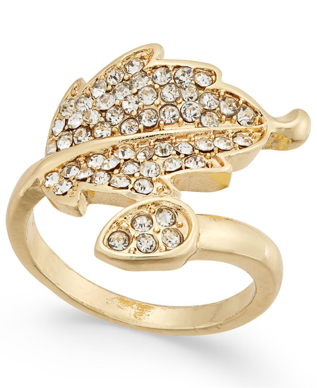 f85136909a2c Lyst - INC International Concepts I.n.c. Gold-tone Pavé Leaf Ring ...