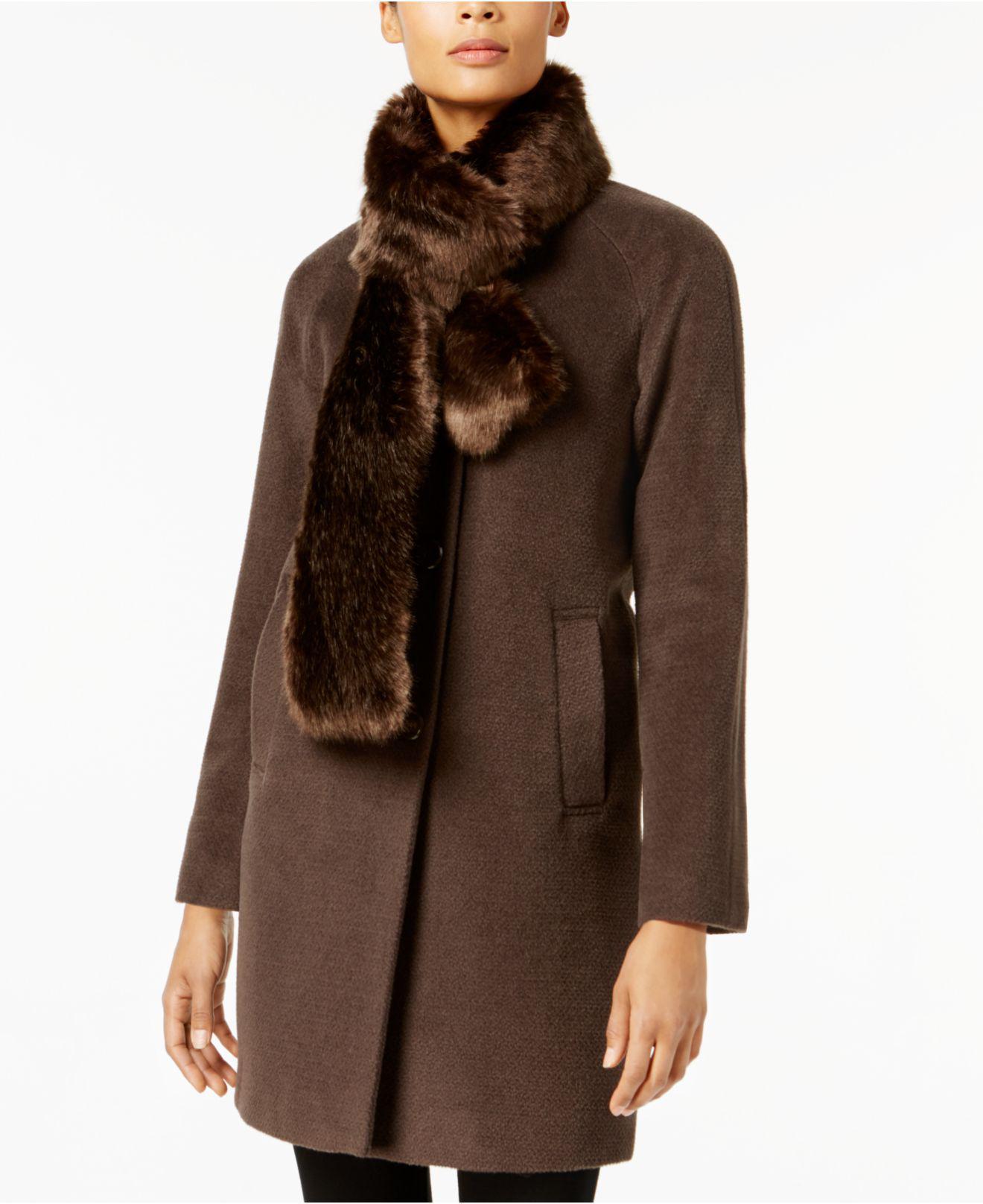 New York Camel Faux Fur Coat by Lumi London