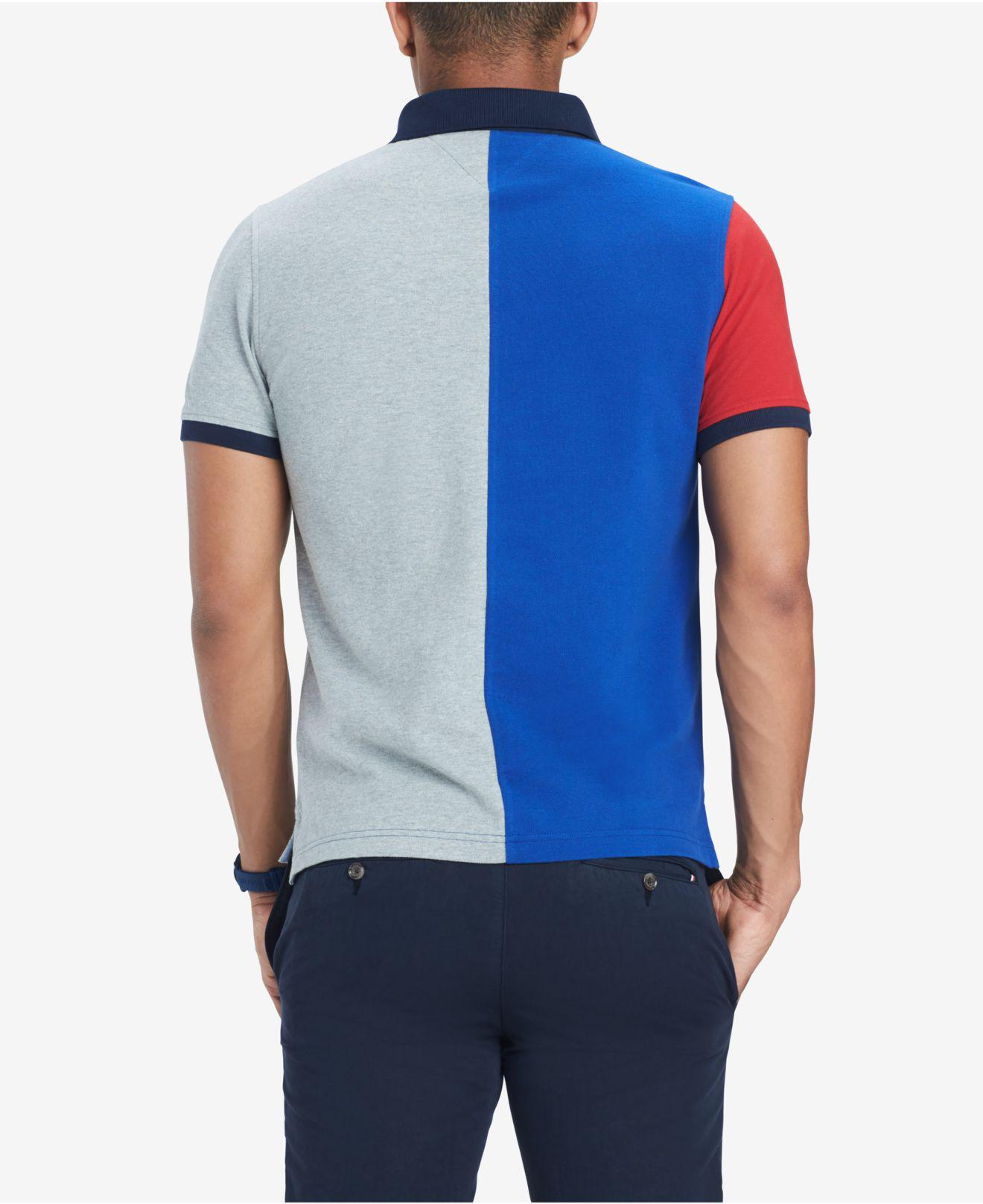f94492f0c2e39 Lyst - Tommy Hilfiger Custom Fit Logo Colorblocked Polo