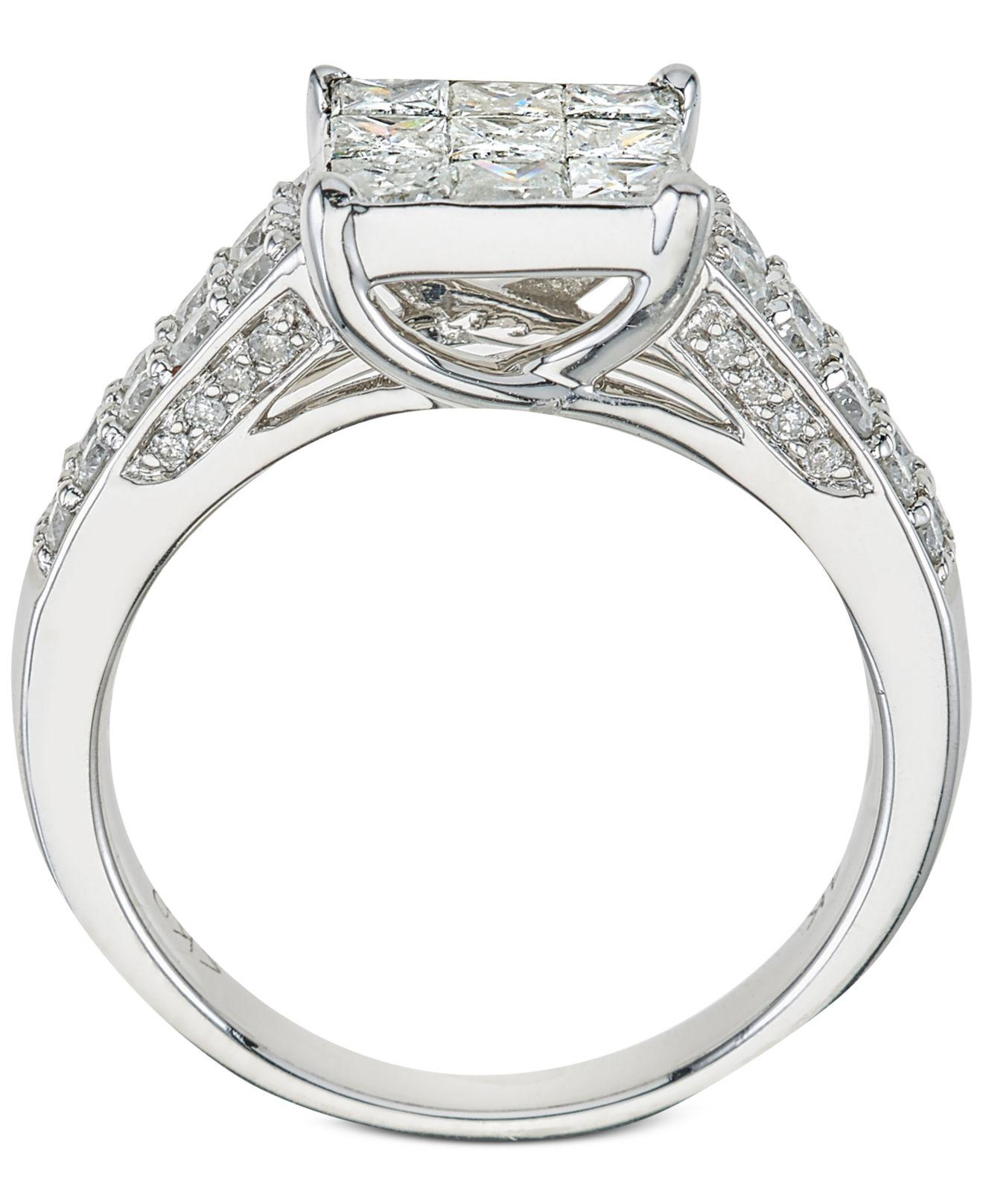 designer diamond macy t view in cluster s w jewelry fullscreen macys rings engagement ct white lyst tw square ring gold