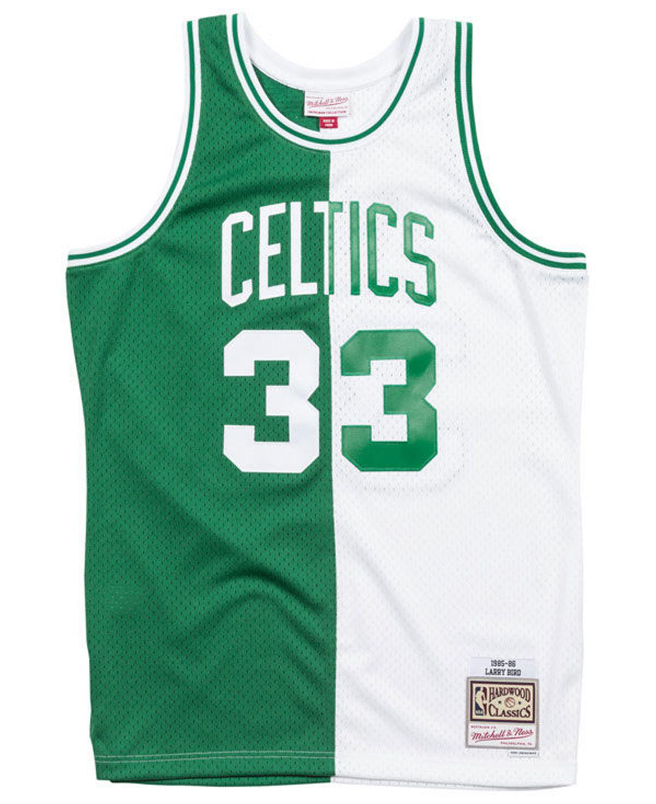 new style 905a9 b9631 Men's Green Larry Bird Boston Celtics Split Swingman Jersey