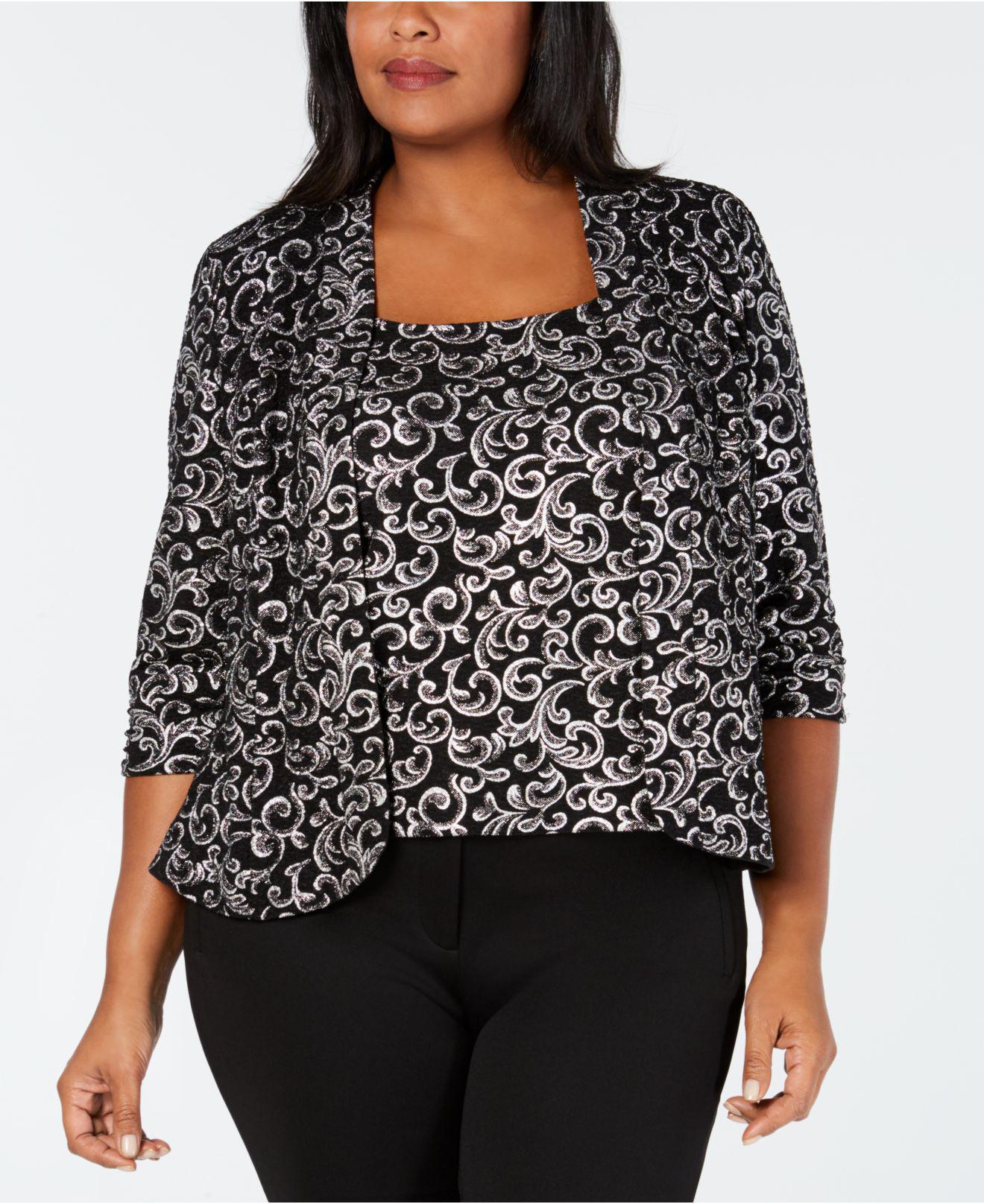 8e311c7c1fe Lyst - Alex Evenings Plus Size Glitter Print Jacket   Top Set in Black
